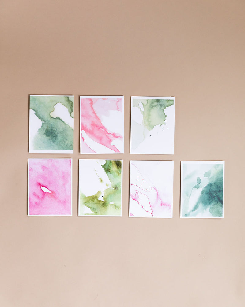 Printed Watercolor Gift Tags | 7 Cardstock Abstractions
