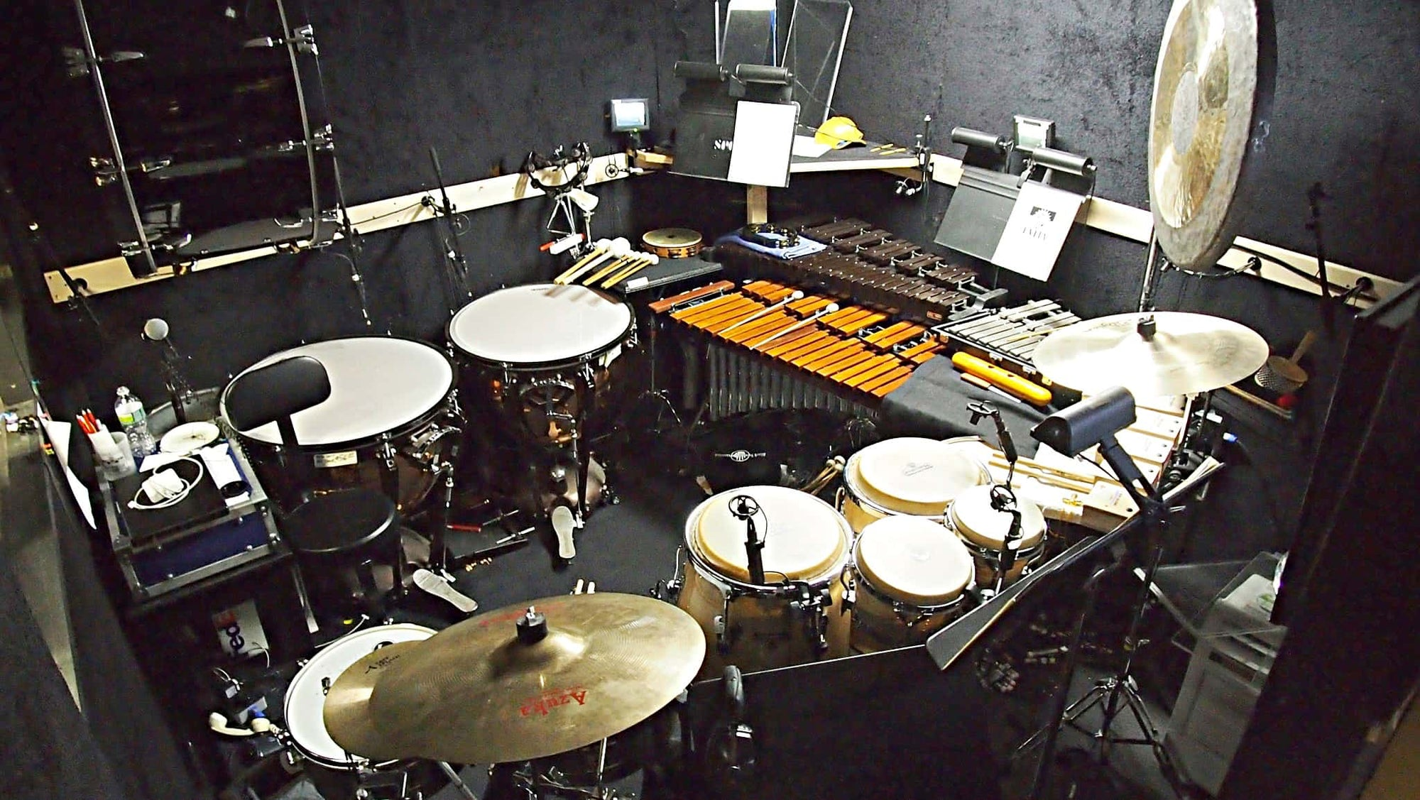 Dave Roth's percussion setup for the Broadway Revival of Evita at the Marquis Theatre.
