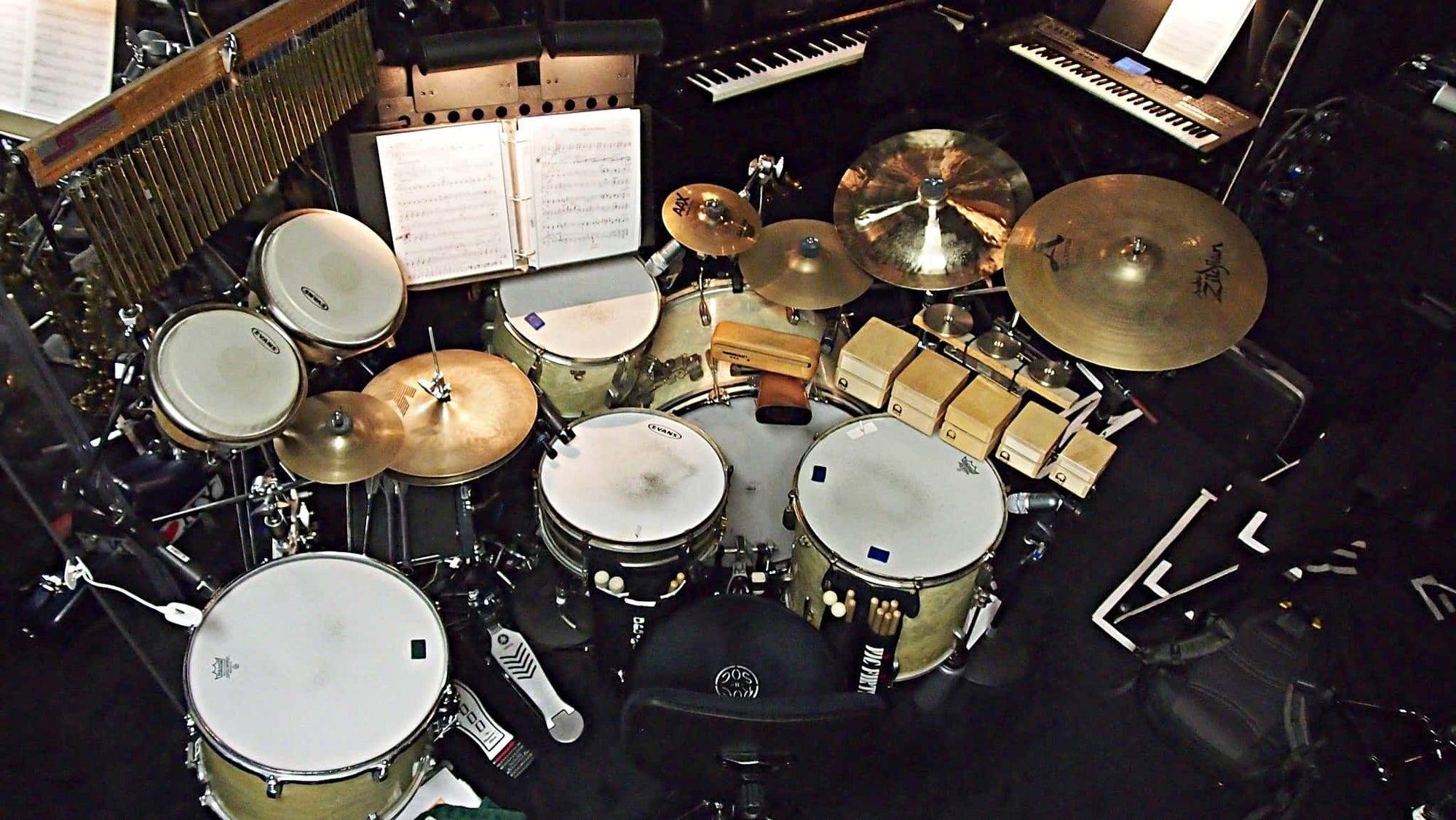 Eric Poland's drum set setup for the Broadway revival of Nice Work If You Can Get It at the Imperial Theatre.