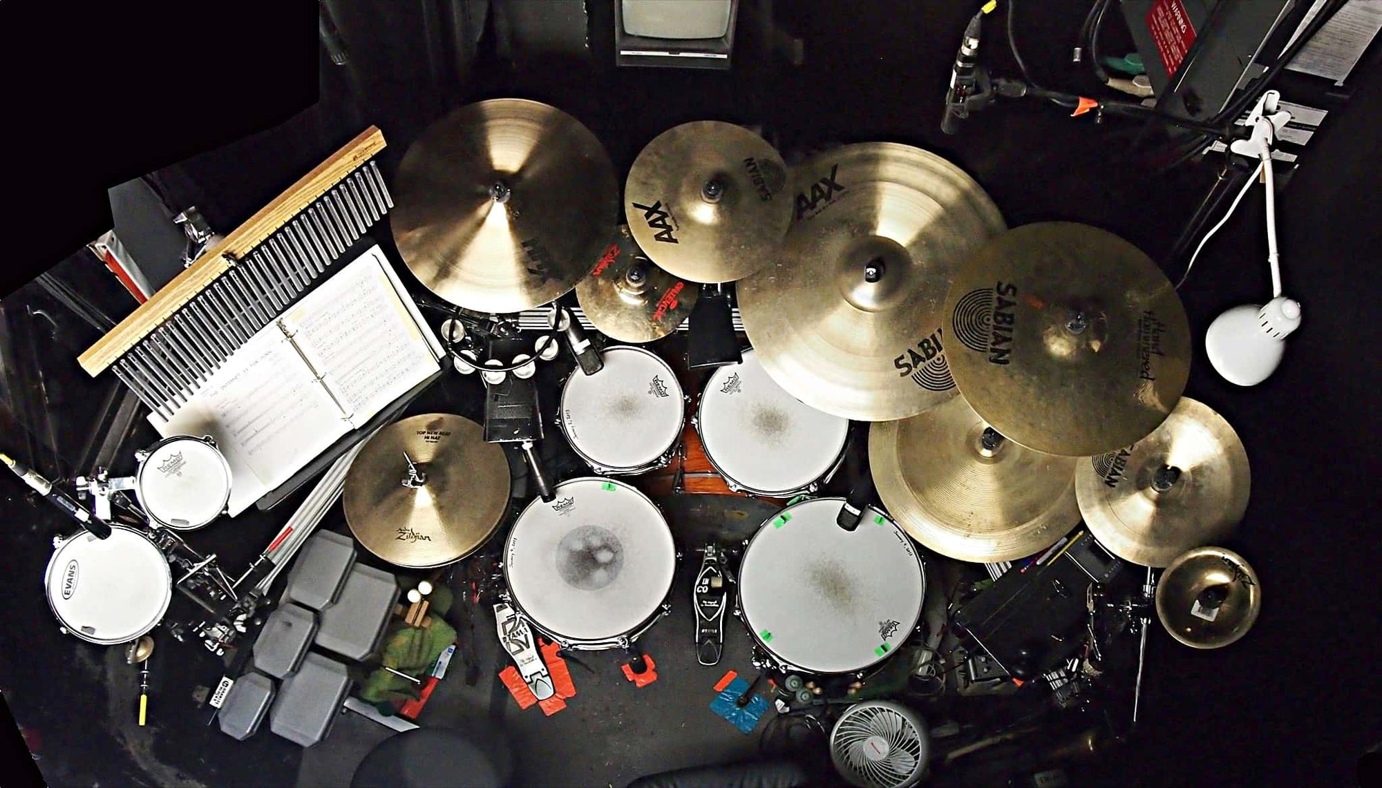 Joe Choroszewski's setup for the Off-Broadway production of Avenue Q at New World Stages, in New York City.