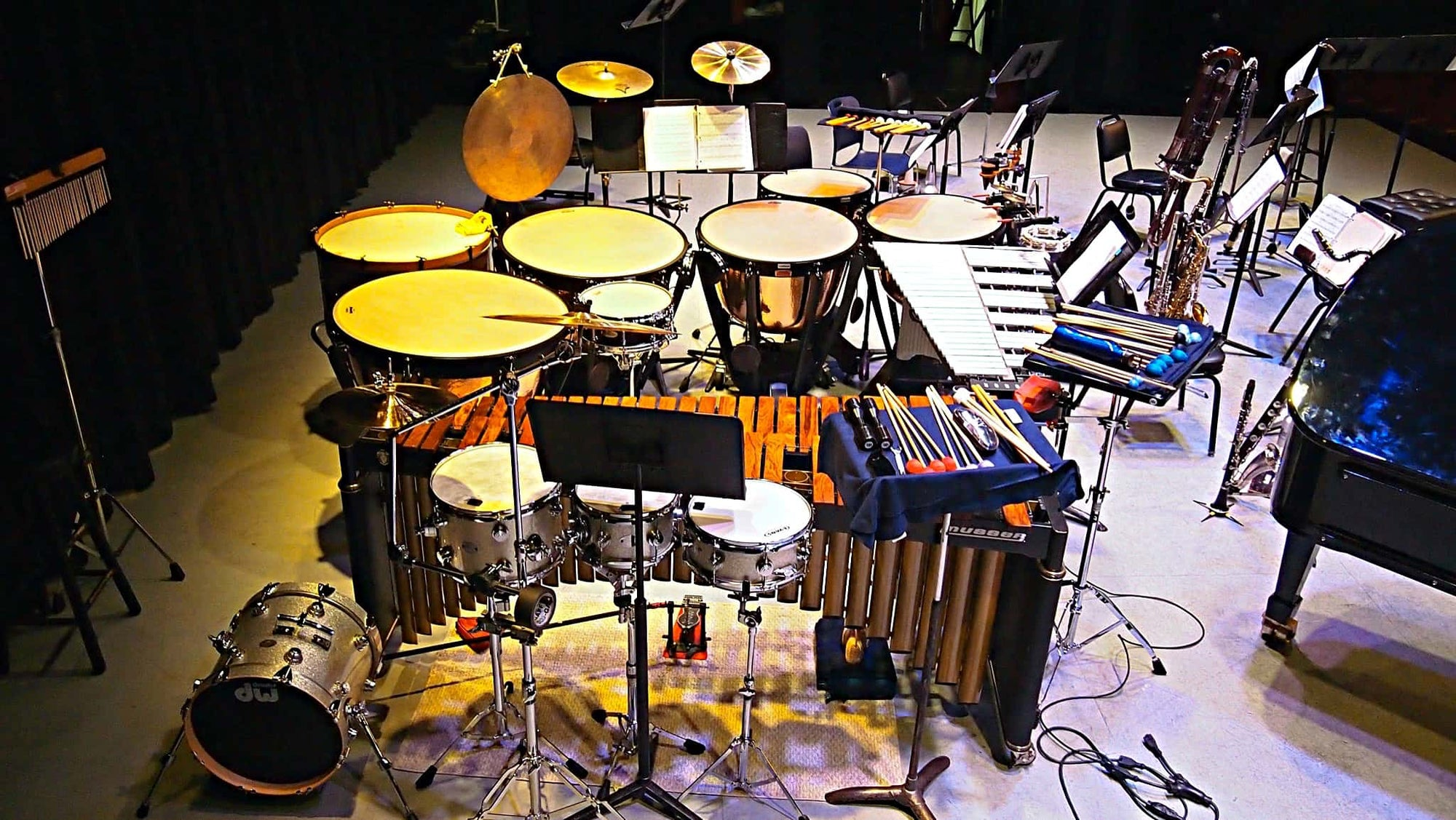 Greg Landes' setup for the Pit Stop Players' concert at Symphony Space in New York City.