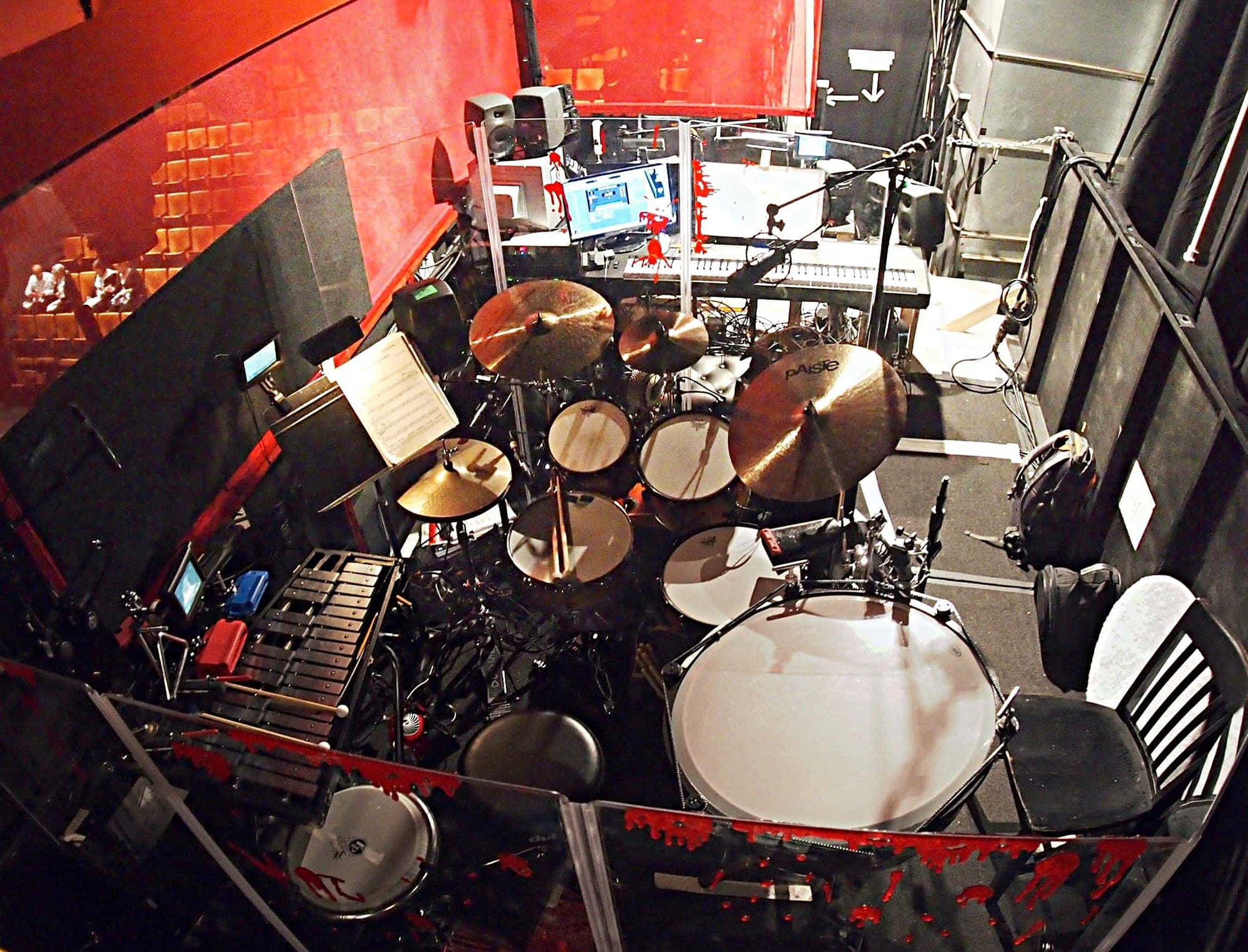 Jay Mack's setup for the Off Broadway production of Little Miss Sunshine at the Second Stage Theatre in New York City.