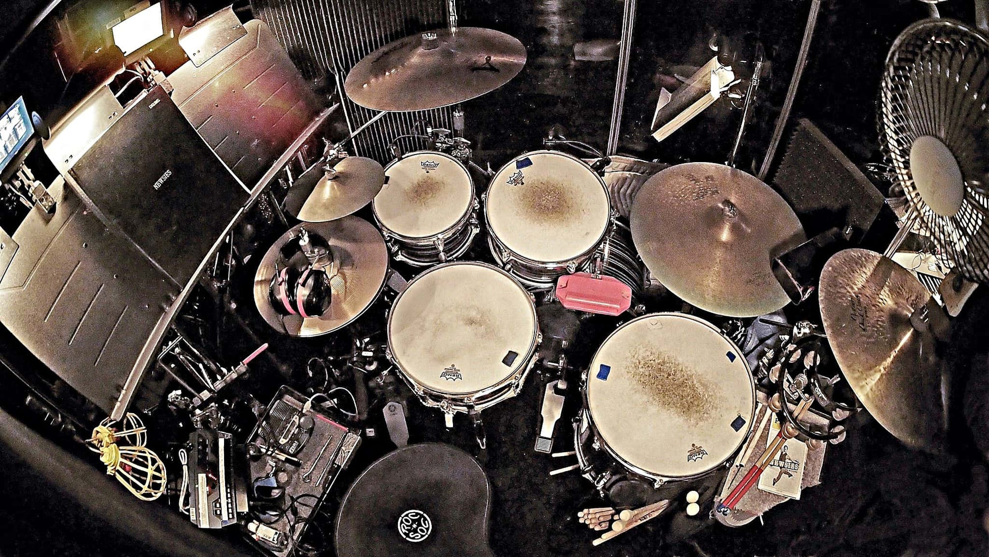 Paul Davis' setup for the Broadway production of Newsies at the Nederlander Theatre.