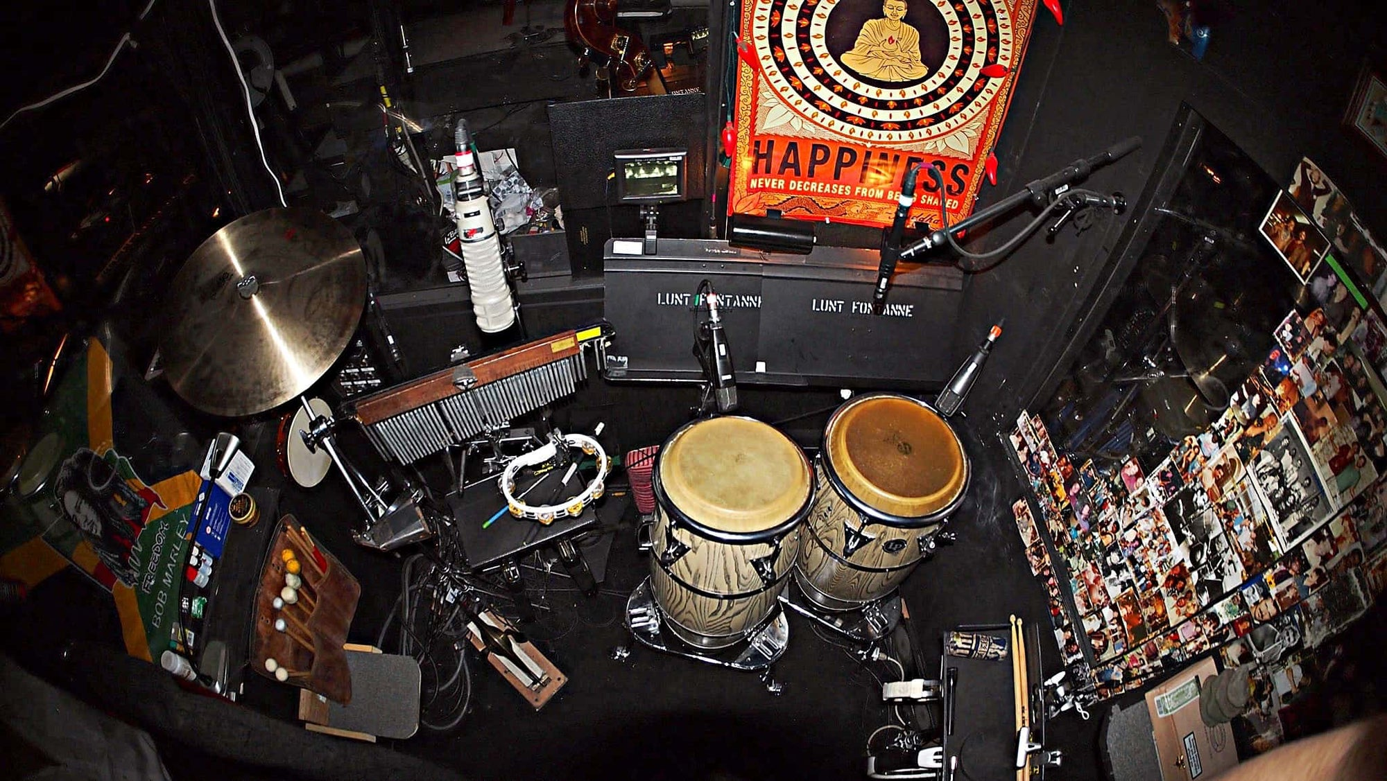 Roger Squitero's hand drum setup for the Broadway production of Motown at the Lunt-Fontanne Theatre.