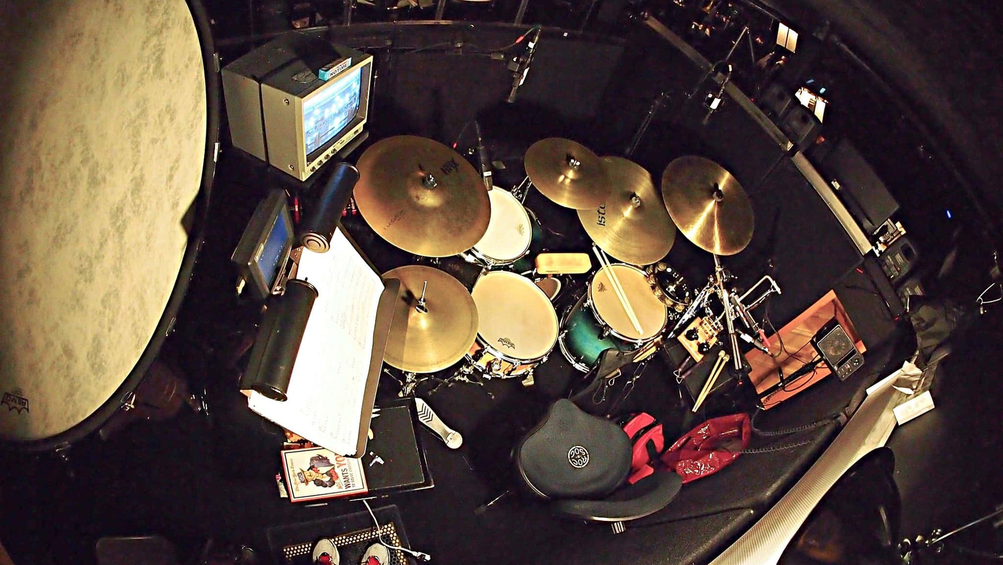 Rich Rosenzweig's drum set setup for the Broadway production of On The Town at the Lyric Theatre.