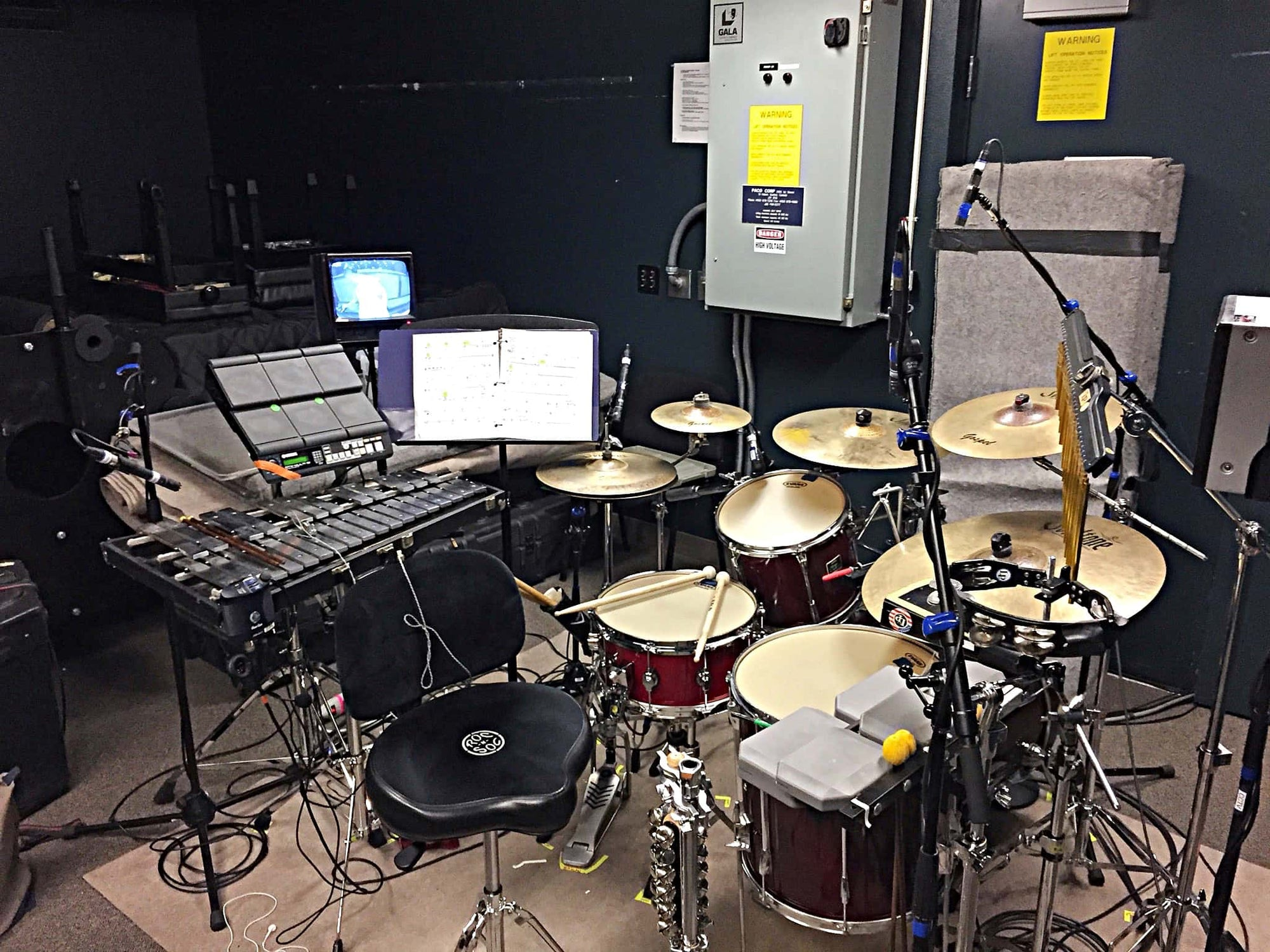 Kevin McNaughton's combined book setup for the touring production of Beauty and the Beast.