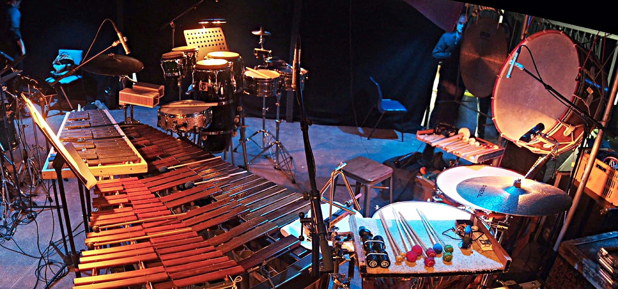 Craig Given's percussion setup for Showbiz Christchurch's production of Evita at the Isaac Theatre Royal in Christchurch, New Zealand.