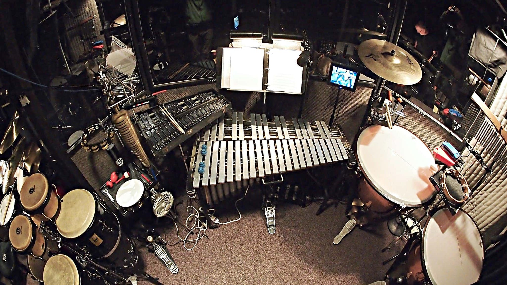Alec Wilmart's percussion setup for Dreamgirls at the Village Theater in Seattle, Washington.