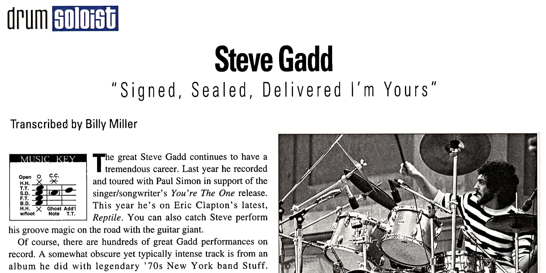 """Signed, Sealed, Delivered I'm Yours"" by Steve Gadd"