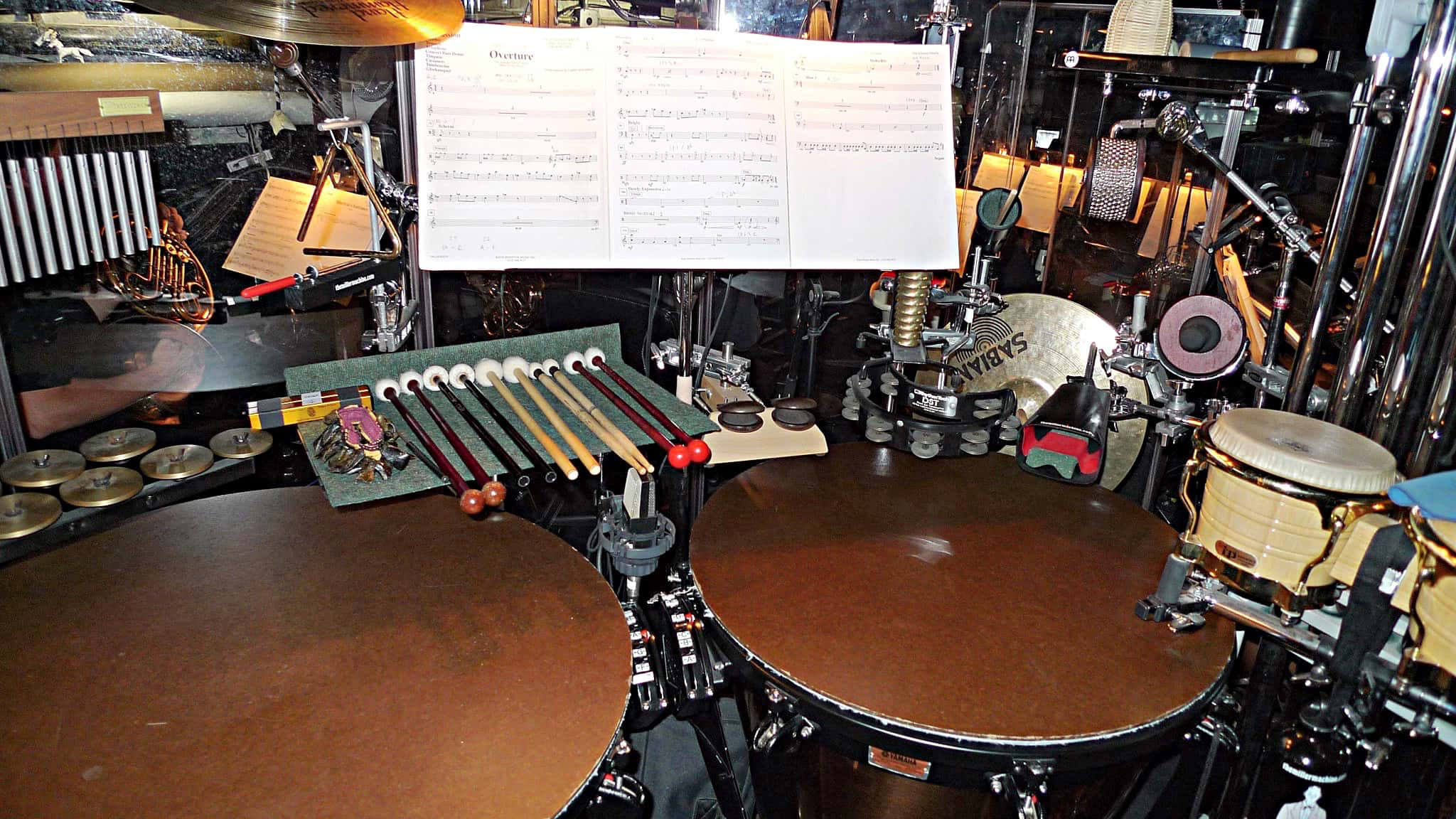 Billy Miller's percussion setup for the Broadway production of The Addams Family at the Lunt-Fontanne Theatre.