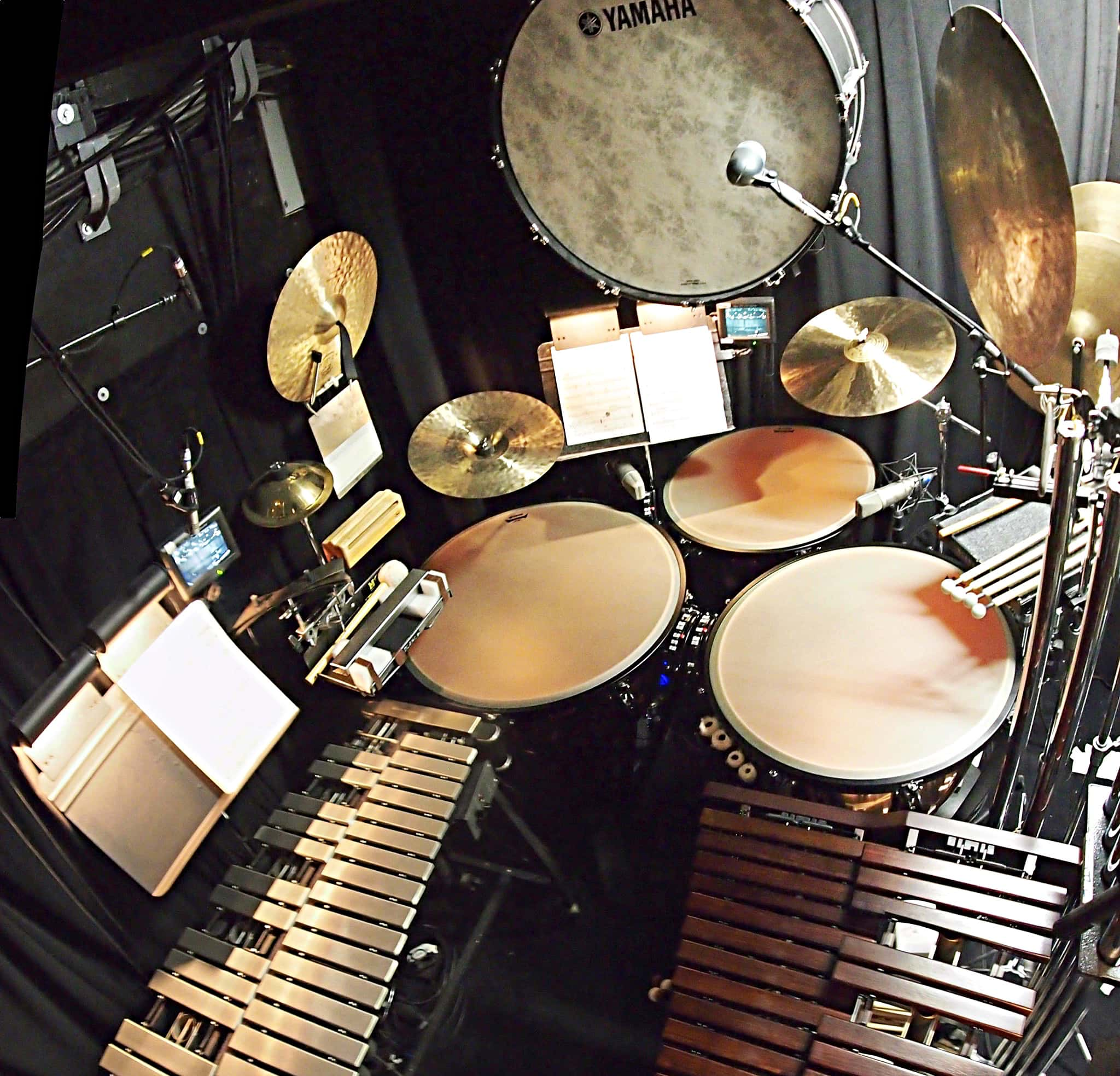 Andy Blanco's percussion setup for the Broadway revival of Nice Work If You Can Get It at the Imperial Theatre.