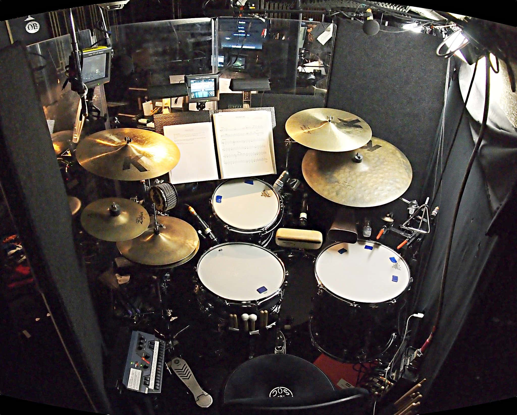 Eric Poland's drum set setup for the Broadway revival of Annie at the Palace Theatre.