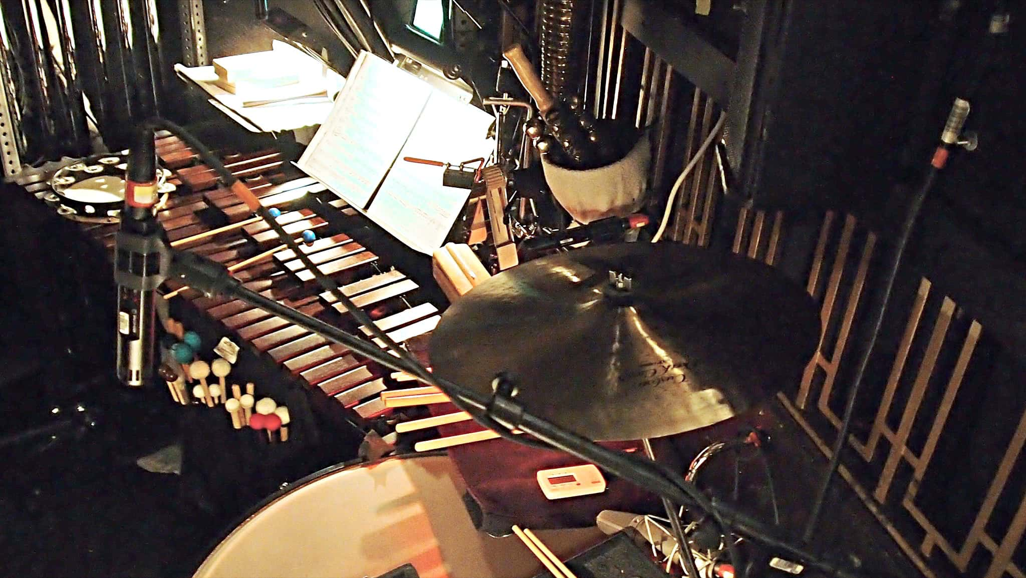Joe Nero's percussion setup for the Broadway revival of Annie at the Palace Theatre.