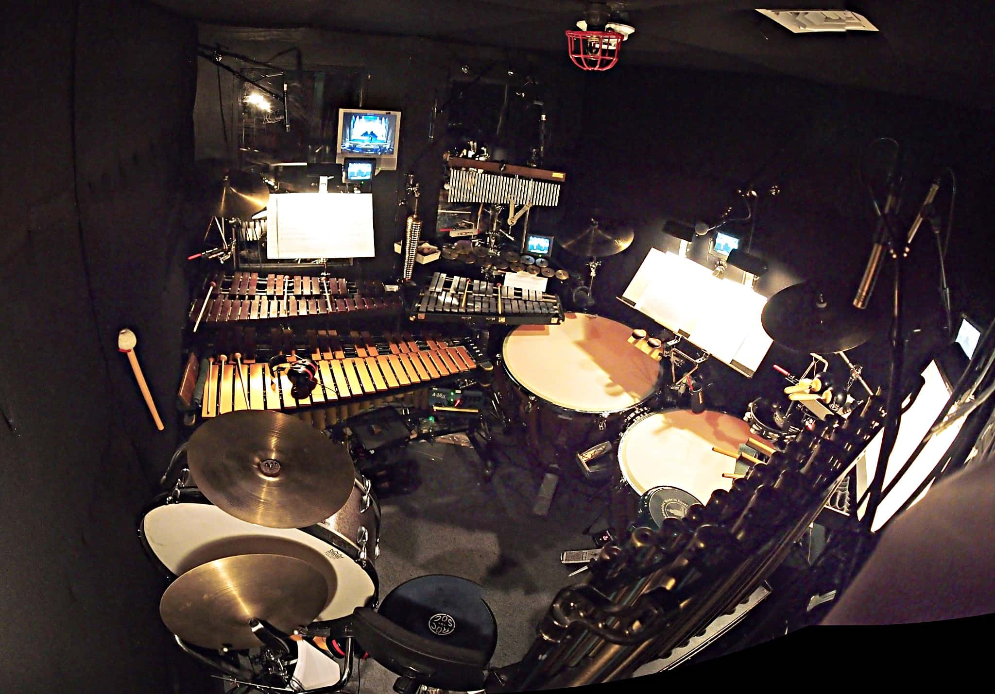 Billy Miller's percussion setup for the Broadway production of Scandalous at the Neil Simon Theatre.