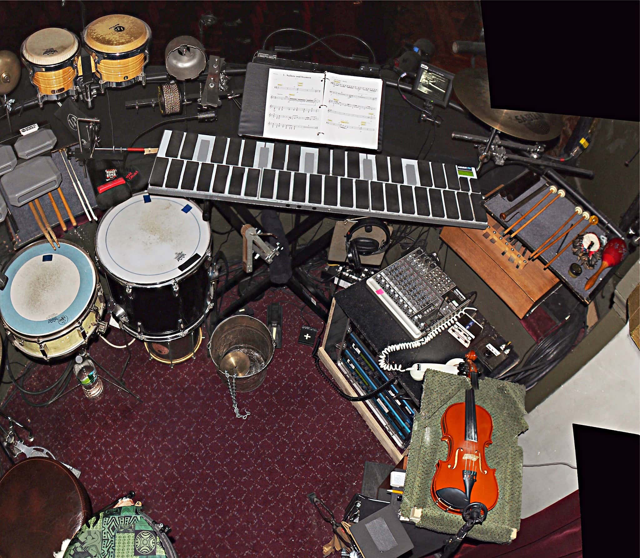 Deane Prouty's setup for the Broadway production of Peter and the Starcatcher at the Brooks Atkinson Theatre.