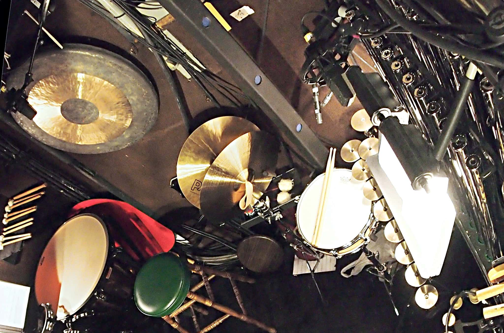 Bill Hayes' percussion setup for the Broadway production of Cinderella at the Broadway Theatre.