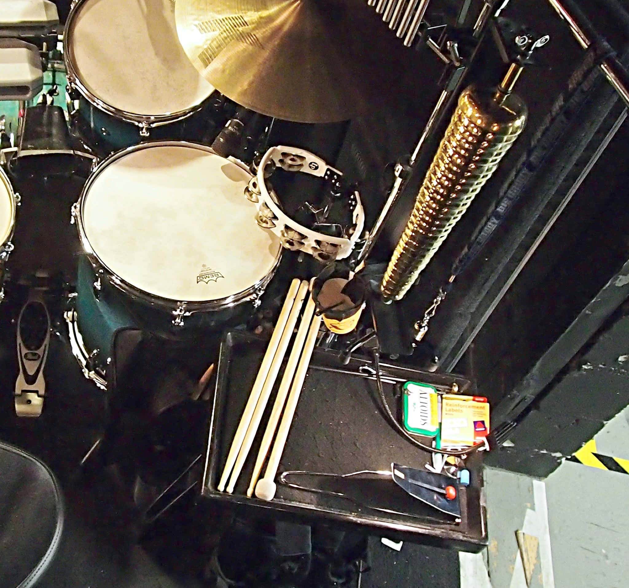 Rich Rosenzweig's drum set setup for the Broadway production of Cinderella at the Broadway Theatre.