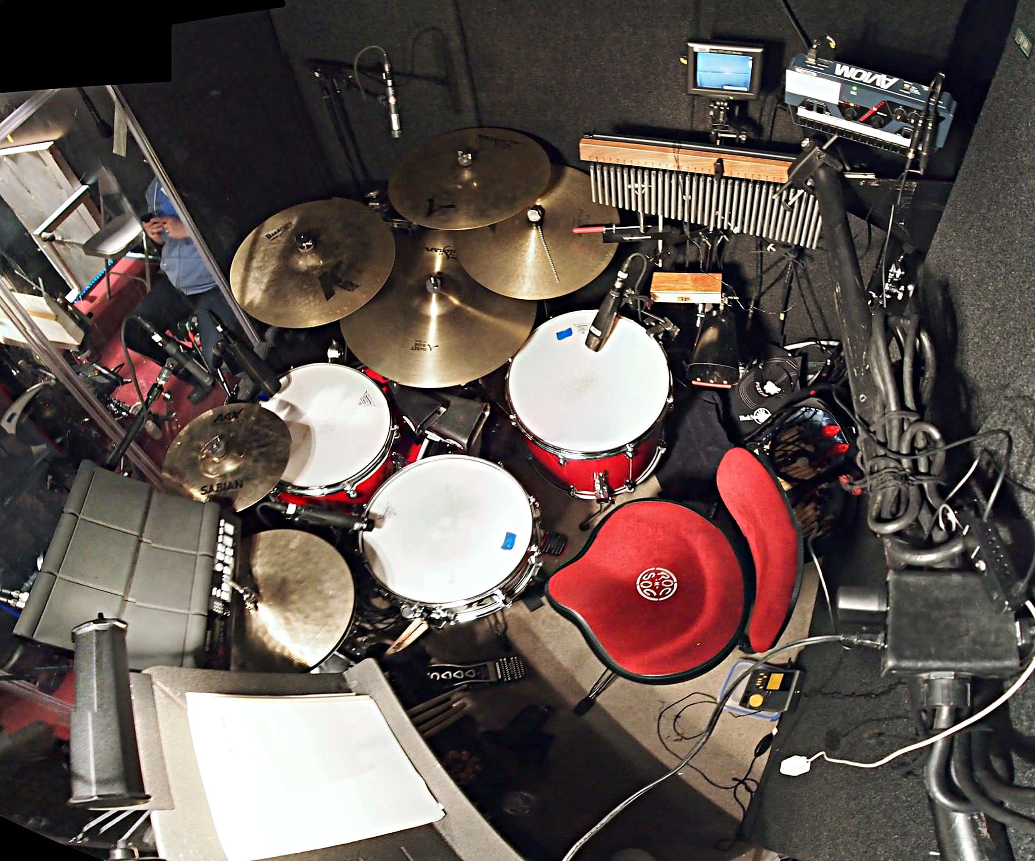 Adam Wolfe's setup for the Off Broadway production of Bunty Berman Presents at The Acorn Theatre in New York City.