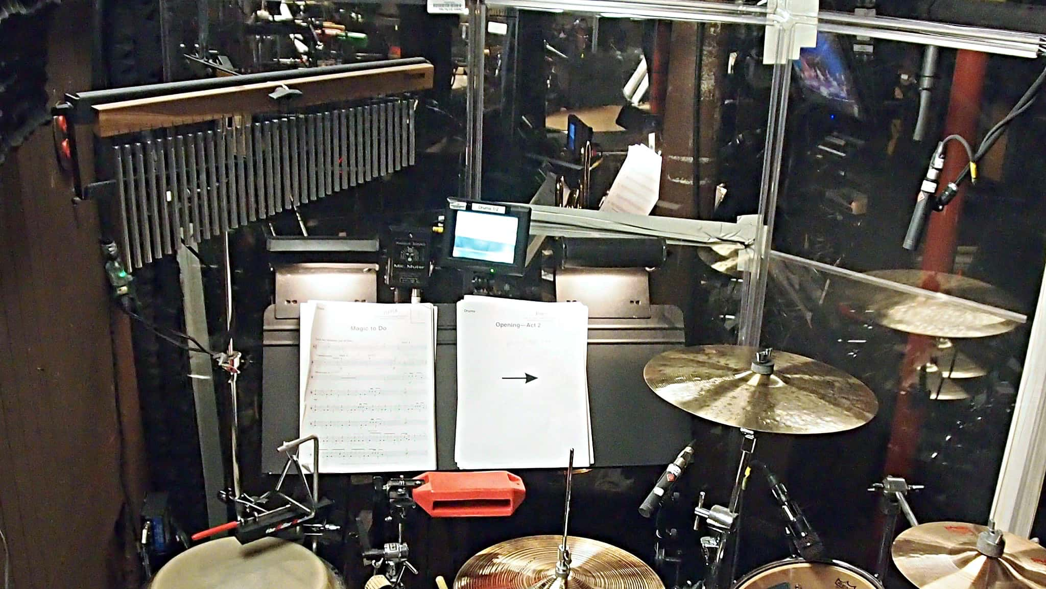 Jared Schonig's drum set setup for the Broadway revival of Pippin at the Music Box Theatre.