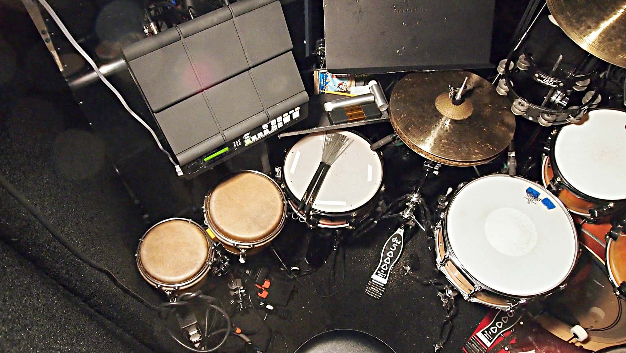 Jay Mack's setup for the Off Broadway production of Nobody Loves You at the Second Stage Theatre in New York City.