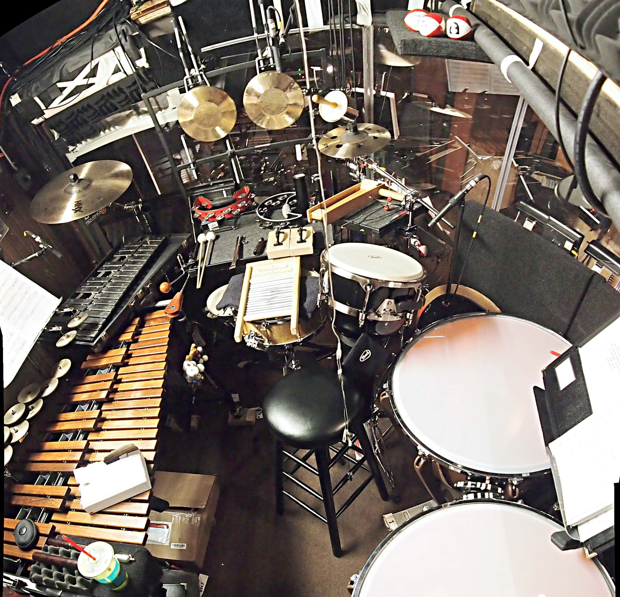 Sean Ritenauer's percussion setup for the Broadway revival of Pippin at the Music Box Theatre.