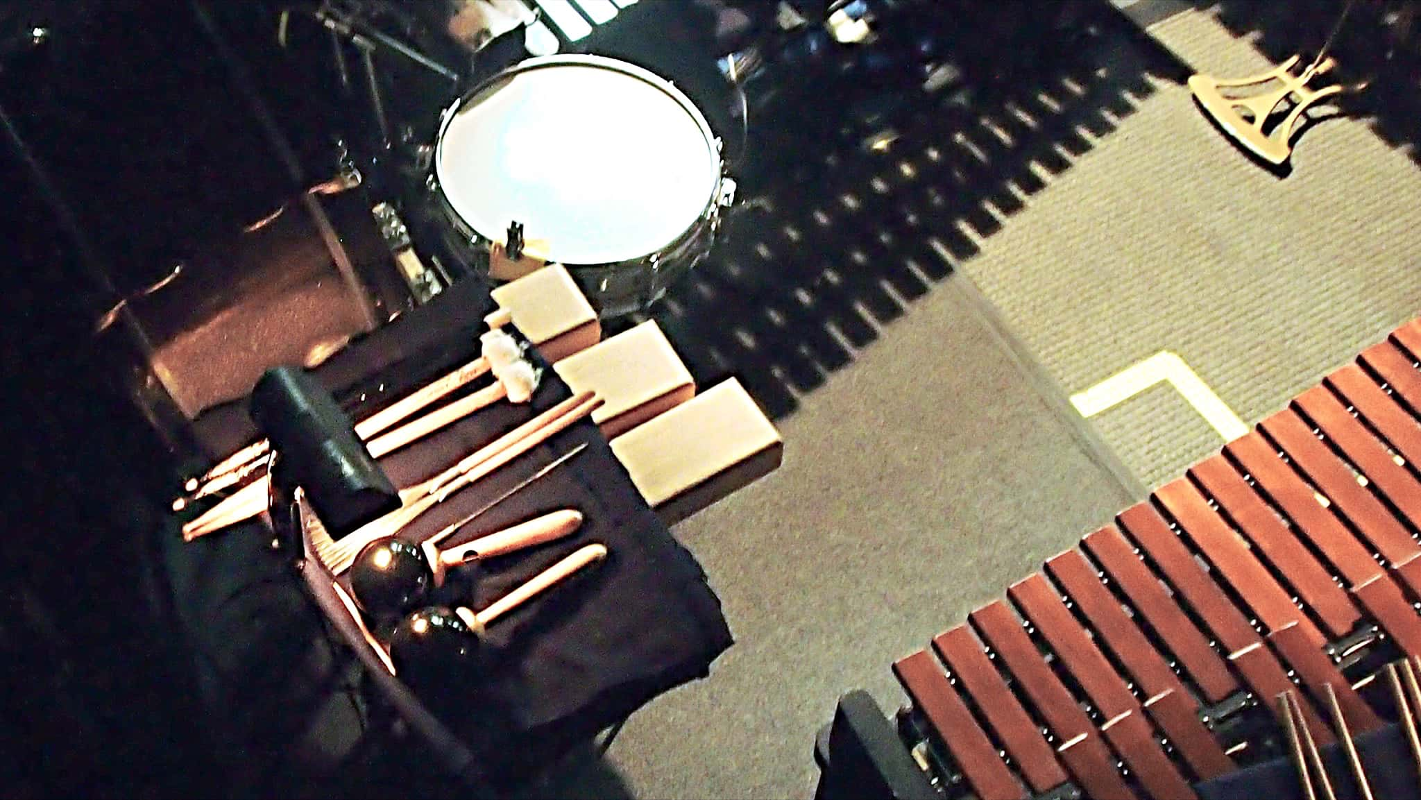 Greg Landes' setup for the Off Broadway production of The Landing at the Vineyard Theatre in New York City.