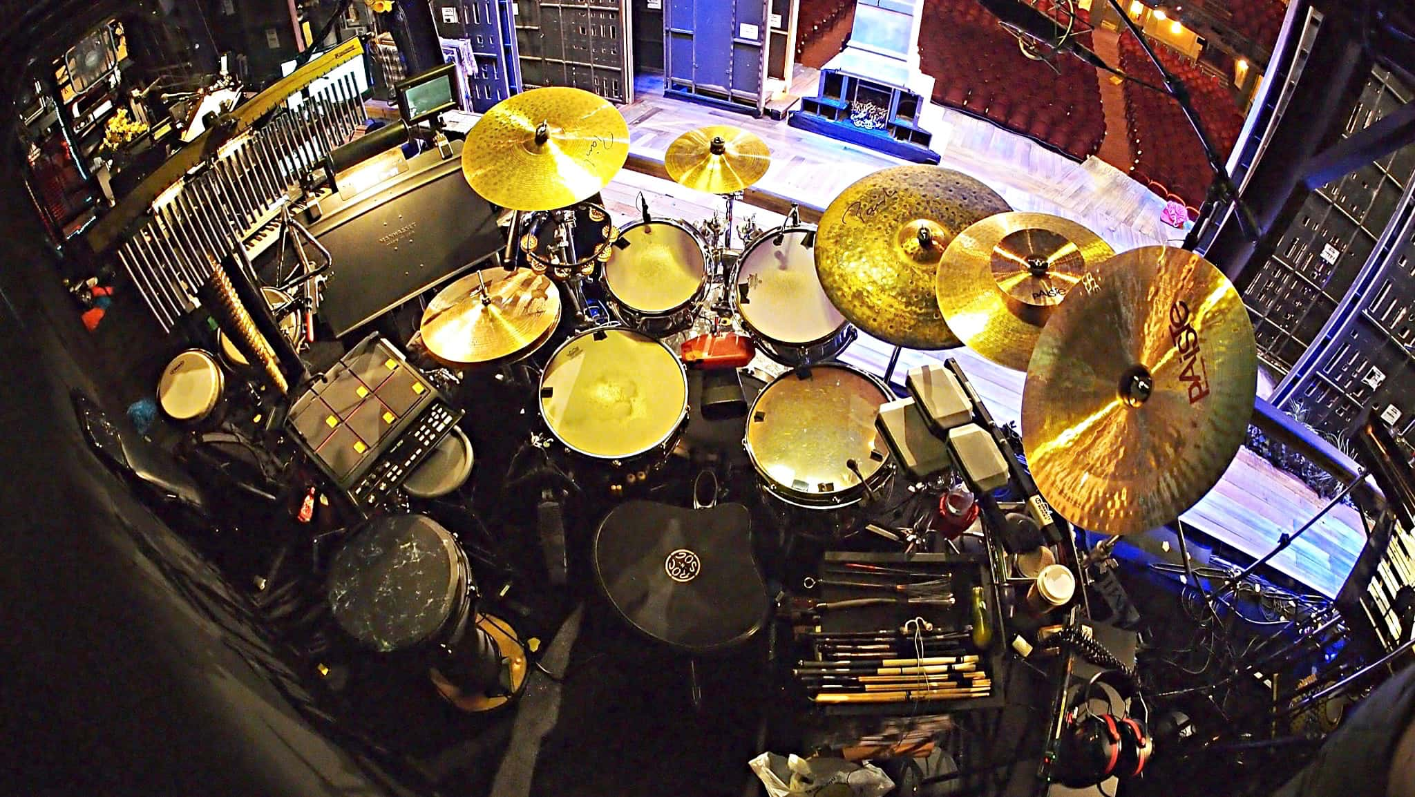 Perry Cavari's drum set setup for the Broadway production of Big Fish at the Neil Simon Theatre.