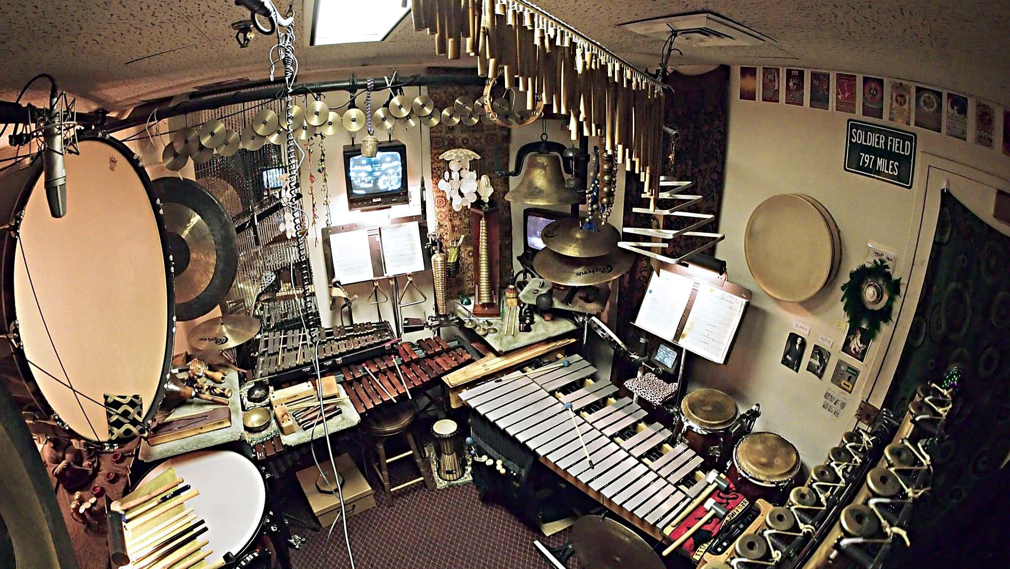 Andy Jones' percussion setup for the currently running Broadway production of Wicked at the Gershwin Theatre.