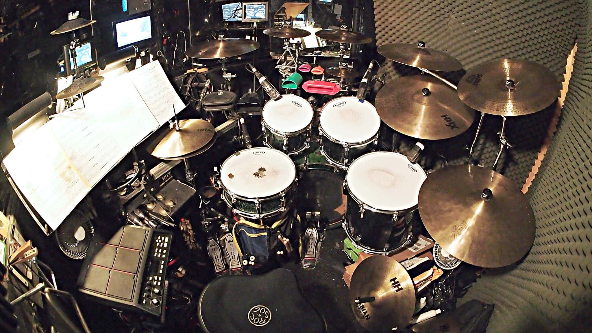 Matt Vander Ende's drum set setup for the currently running Broadway production of Wicked at the Gershwin Theatre.