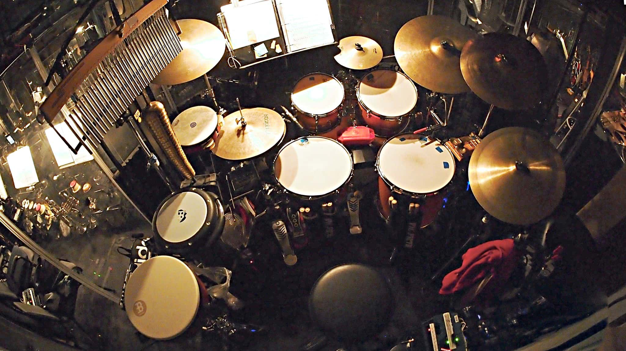 John Redsecker's drum set setup for the Broadway production of Aladdin at the New Amsterdam Theatre.