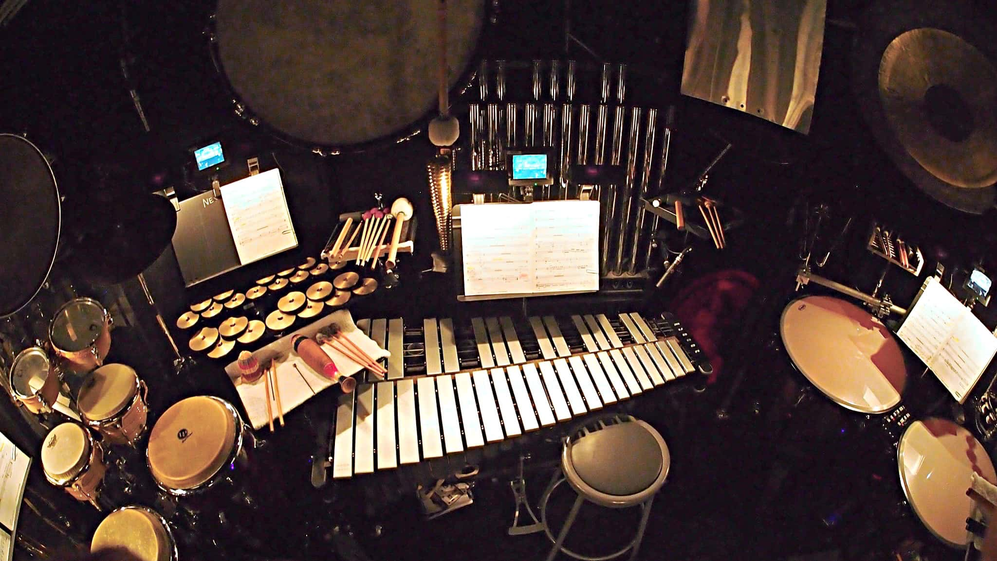 Mike Englander's percussion setup for the Broadway production of Aladdin at the New Amsterdam Theatre.