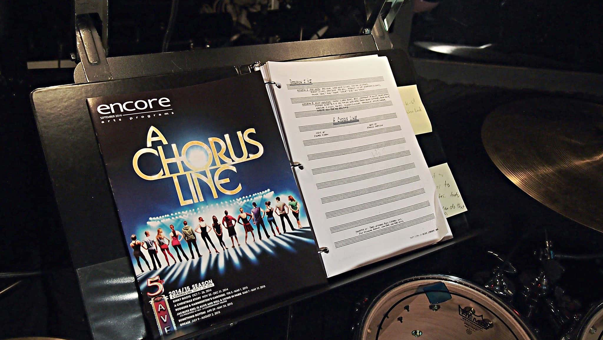 Alec Wilmart's drum set setup for A Chorus Line at The 5th Avenue Theatre in Seattle, Washington.