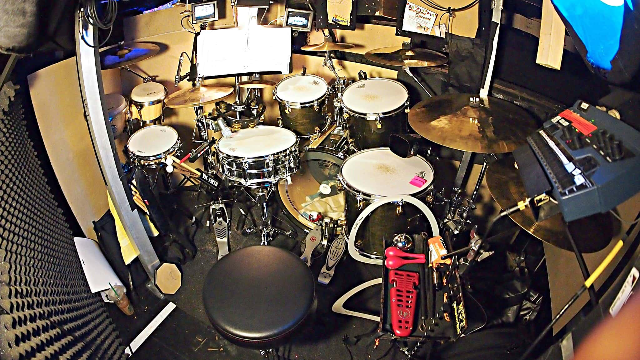 Michael Blancaflor's setup for the Off-Broadway production of Found at the Linda Gross Theater in New York City.