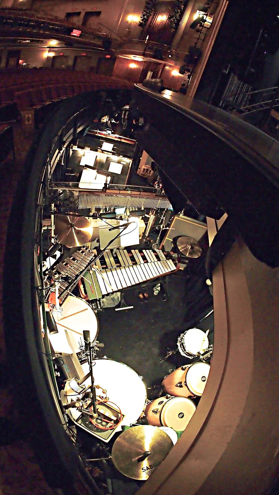 Billy Miller's percussion setup for the Broadway Revival of Side Show at the St. James Theater.