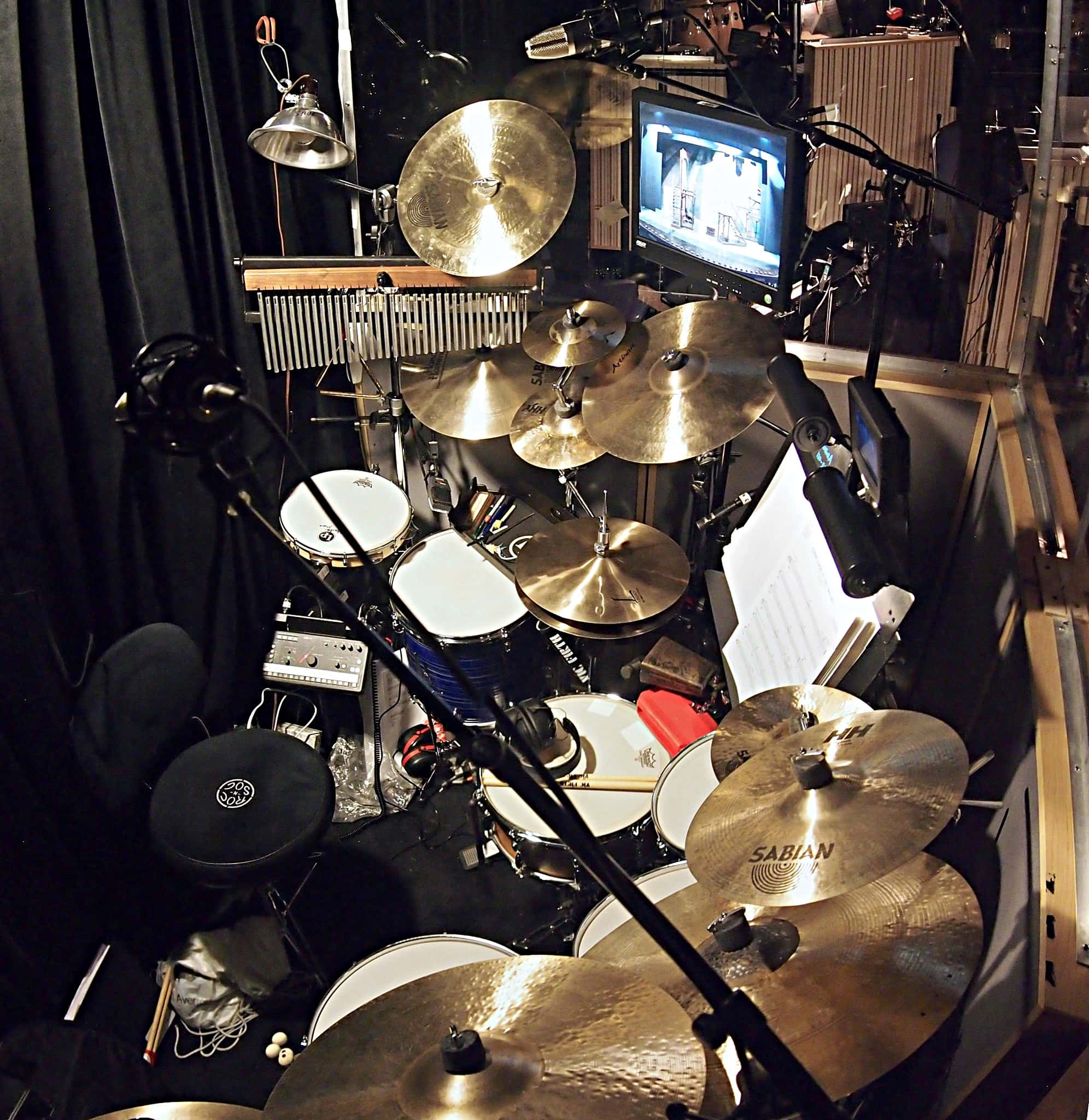 Larry Lelli's drum set setup for the Broadway Revival of Side Show at the St. James Theatre.