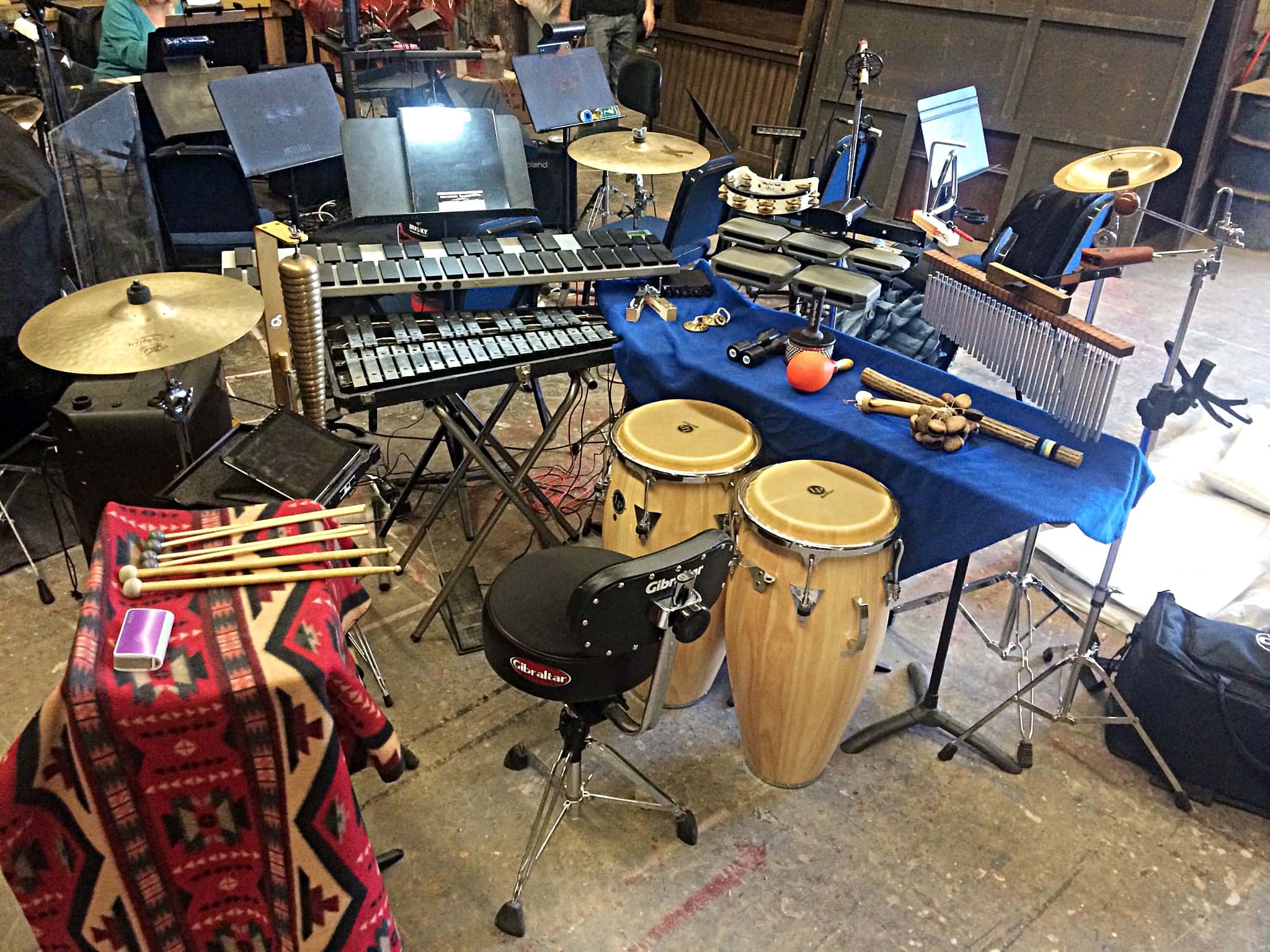 Matthew Dudek's percussion setup for Cy Coleman's The Life at Oakland University in Rochester, Michigan.