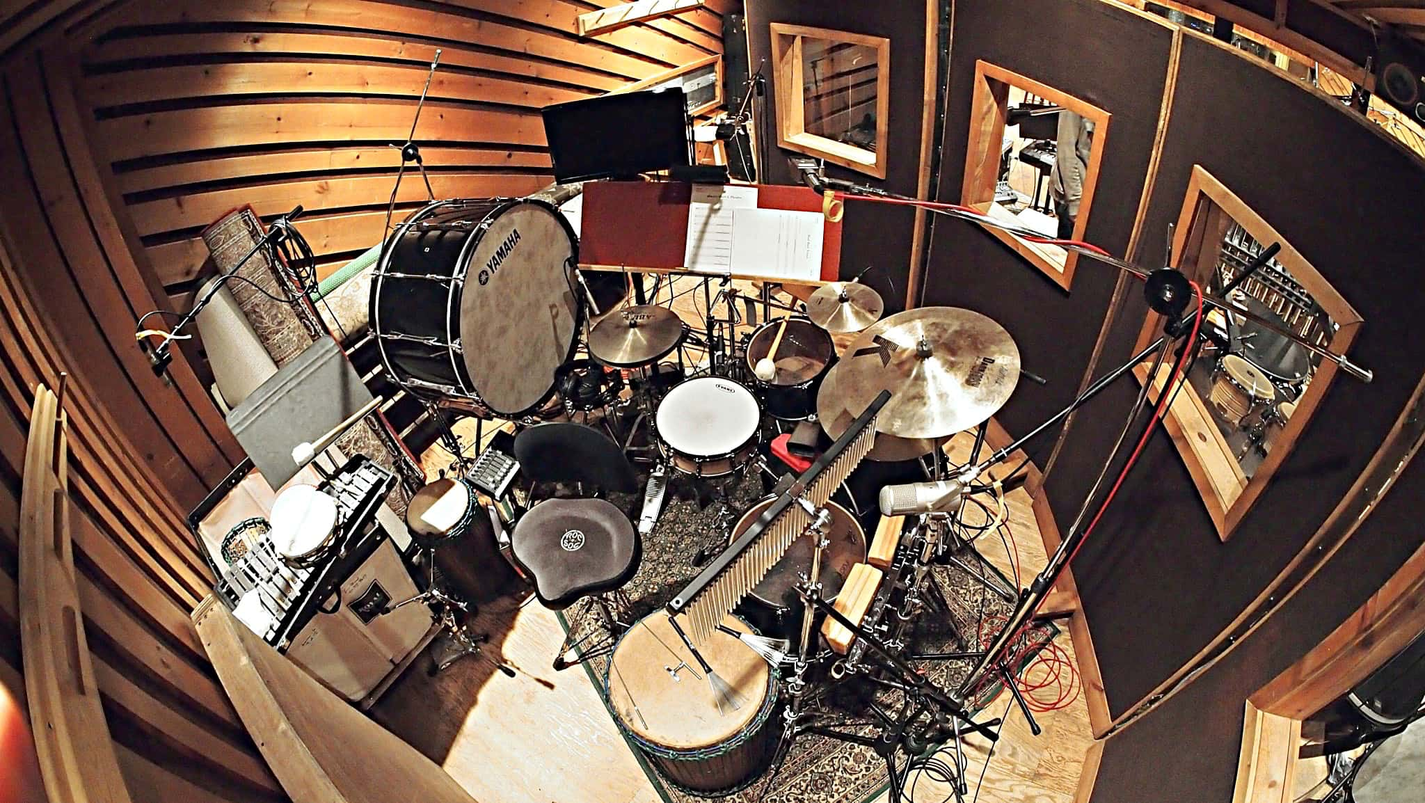 Paul Pizzuti's drum set setup for the 2014 recording session of NBC's Peter Pan Live at Avatar Studios in New York City.