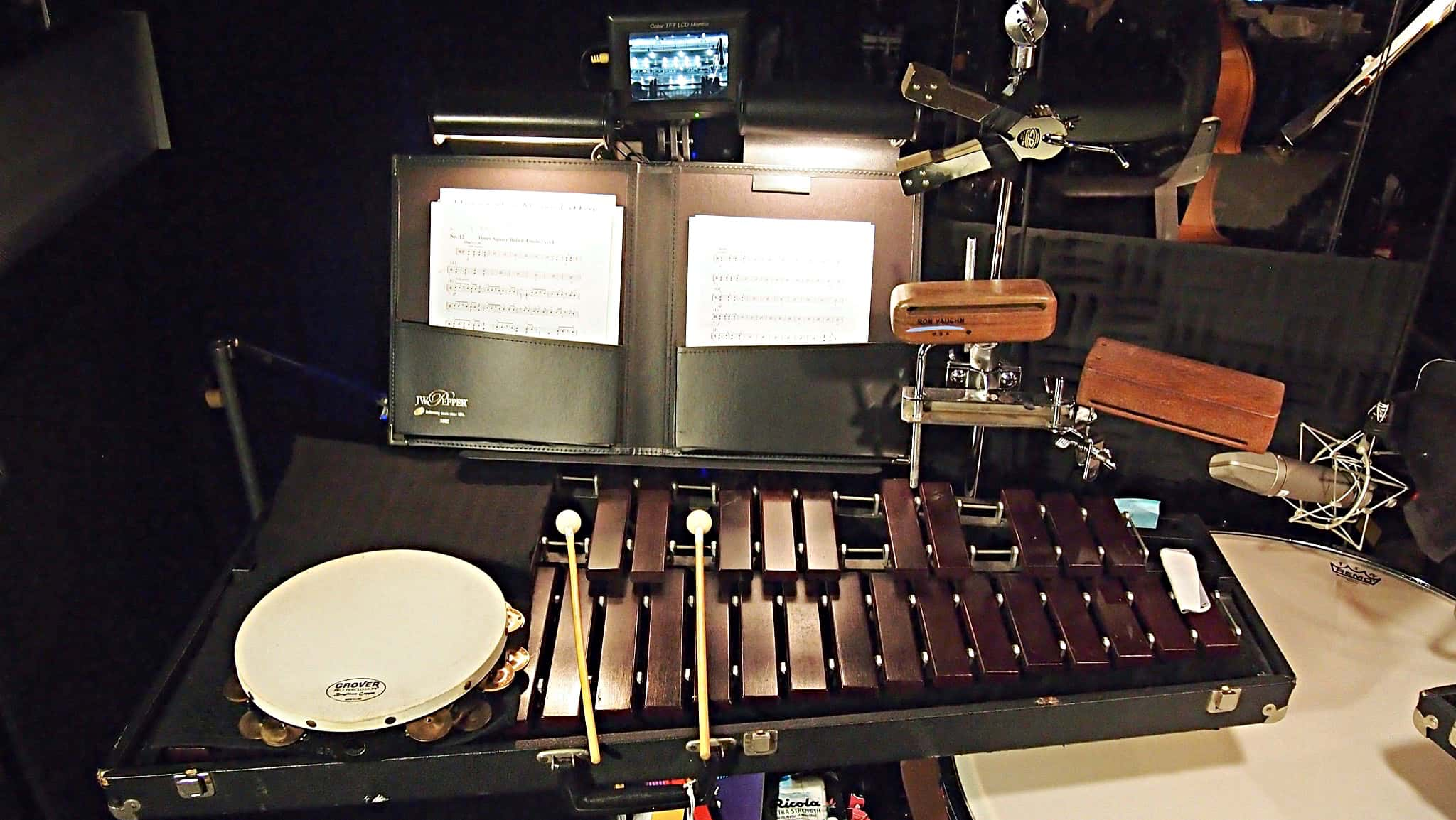 Charlie Descarfino's percussion setup for the Broadway production of On The Town at the Lyric Theatre.