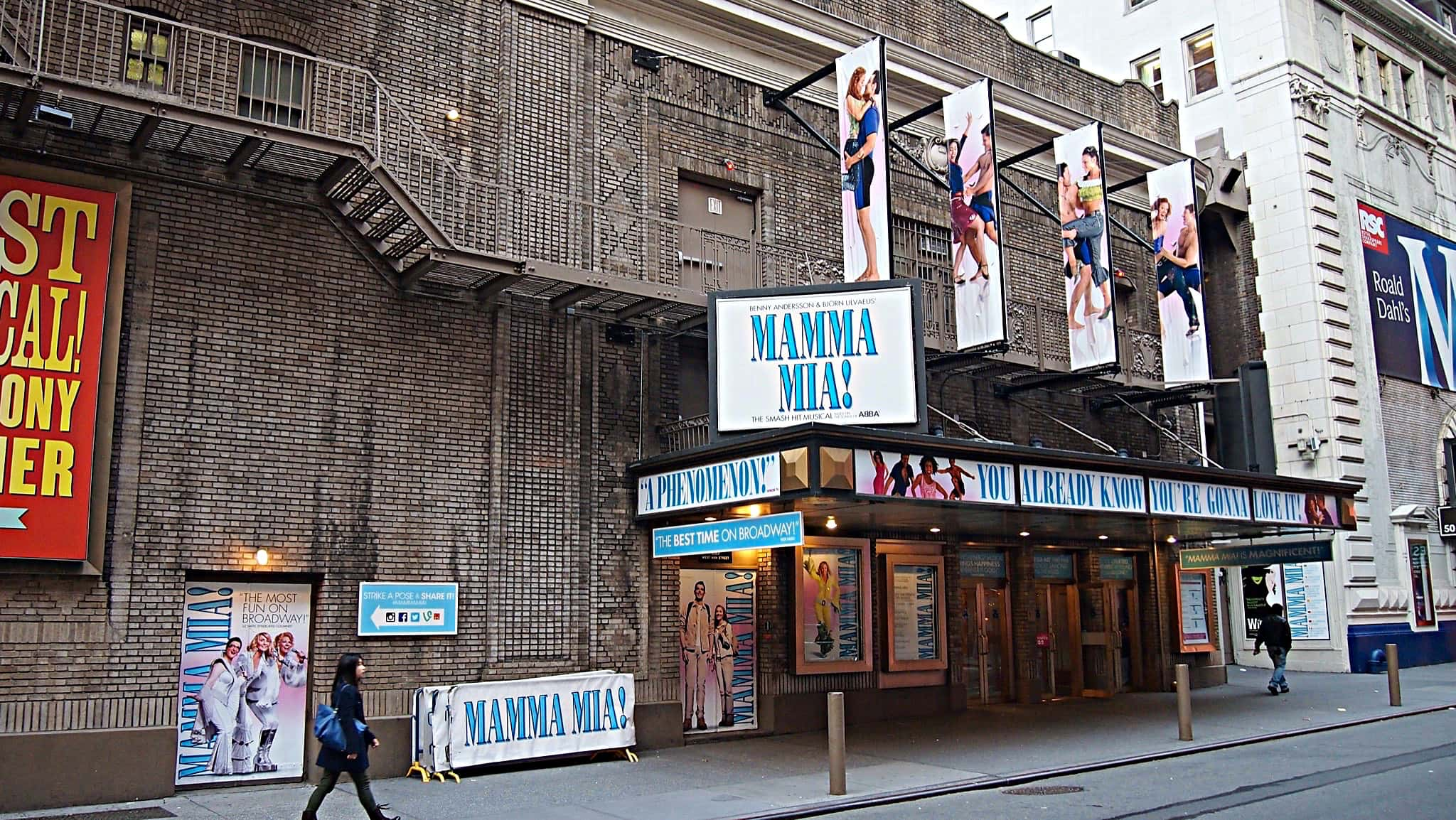 David Nyberg's percussion setup for the Broadway production of Mamma Mia at the Broadhurst Theatre.