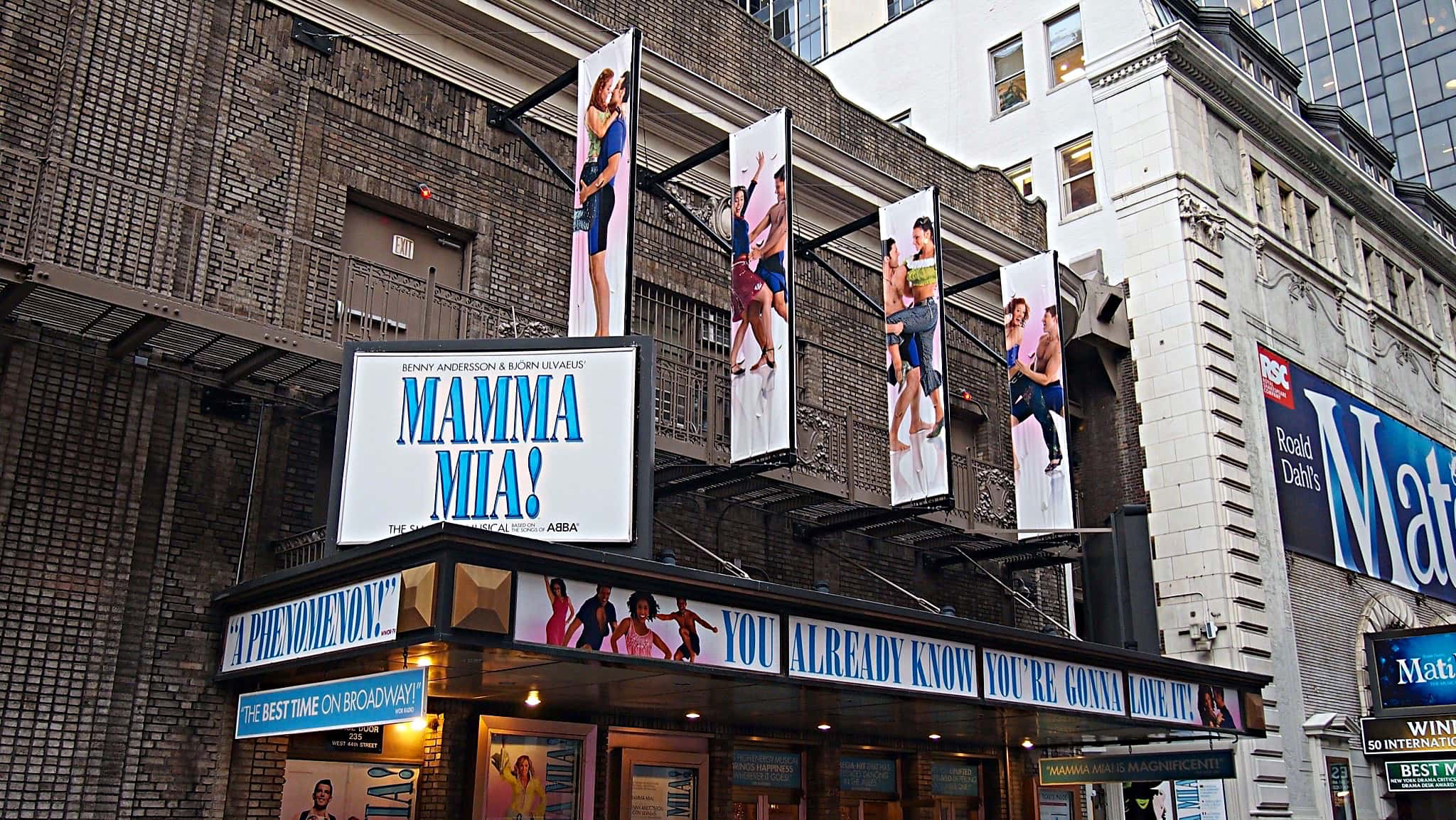 Ray Marchica's drum set setup for the Broadway production of Mamma Mia at the Broadhurst Theatre.