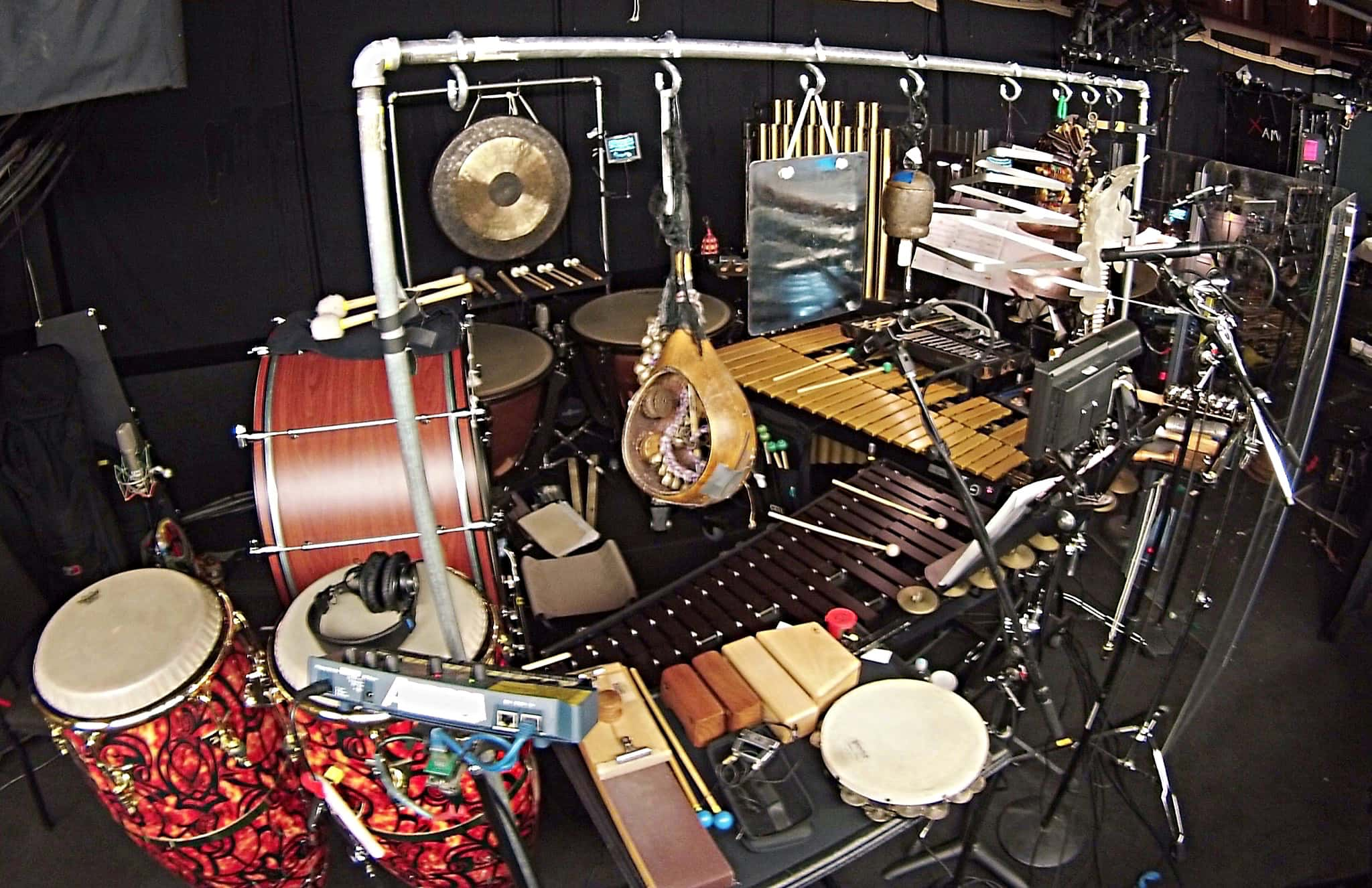 Alex Stopa's percussion setup for Wicked at The Smith Center in Las Vegas, Nevada.