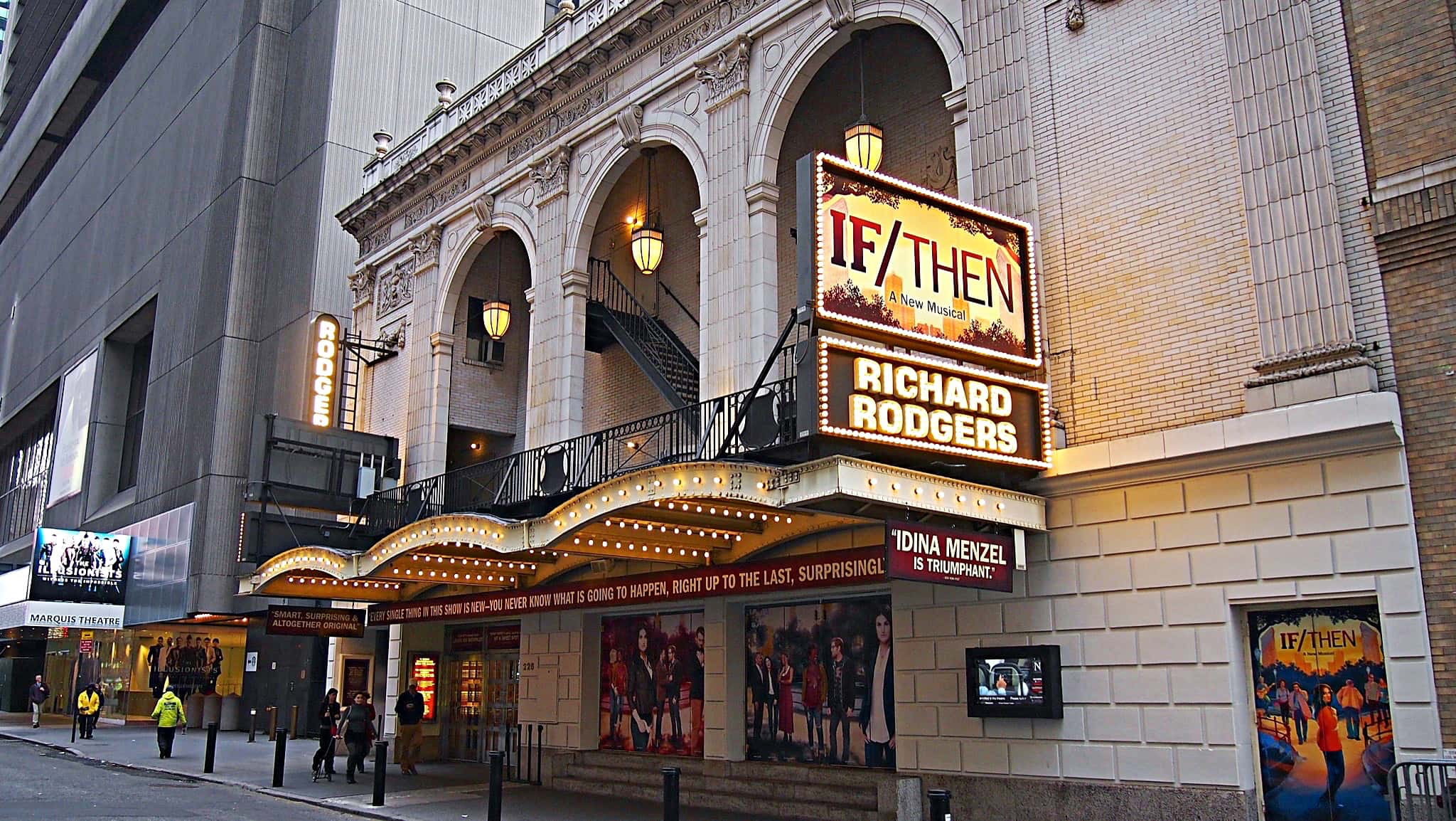 Damien Bassman's setup for the Broadway production of If/Then at the Richard Rodgers Theatre.