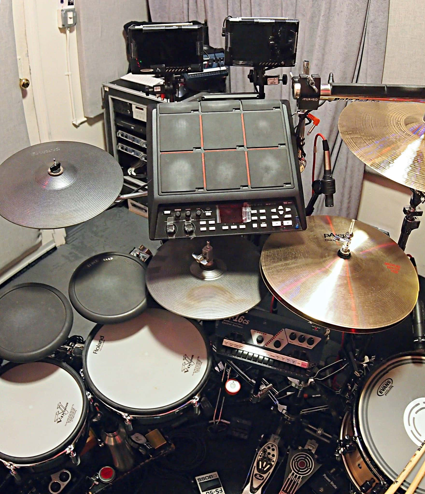 Sammy Merendino's setup for the Broadway production of Kinky Boots at the Al Hirschfeld Theatre.
