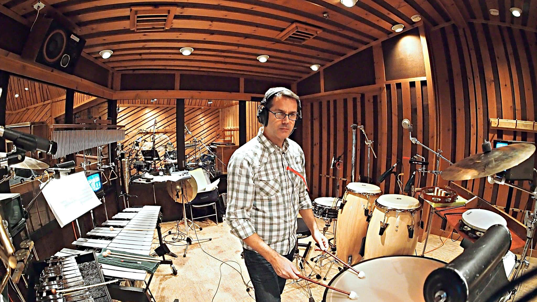 Billy Miller's percussion setup for the Cast Album Recording at Avatar Studios, New York City, for the Broadway Revival of Side Show.