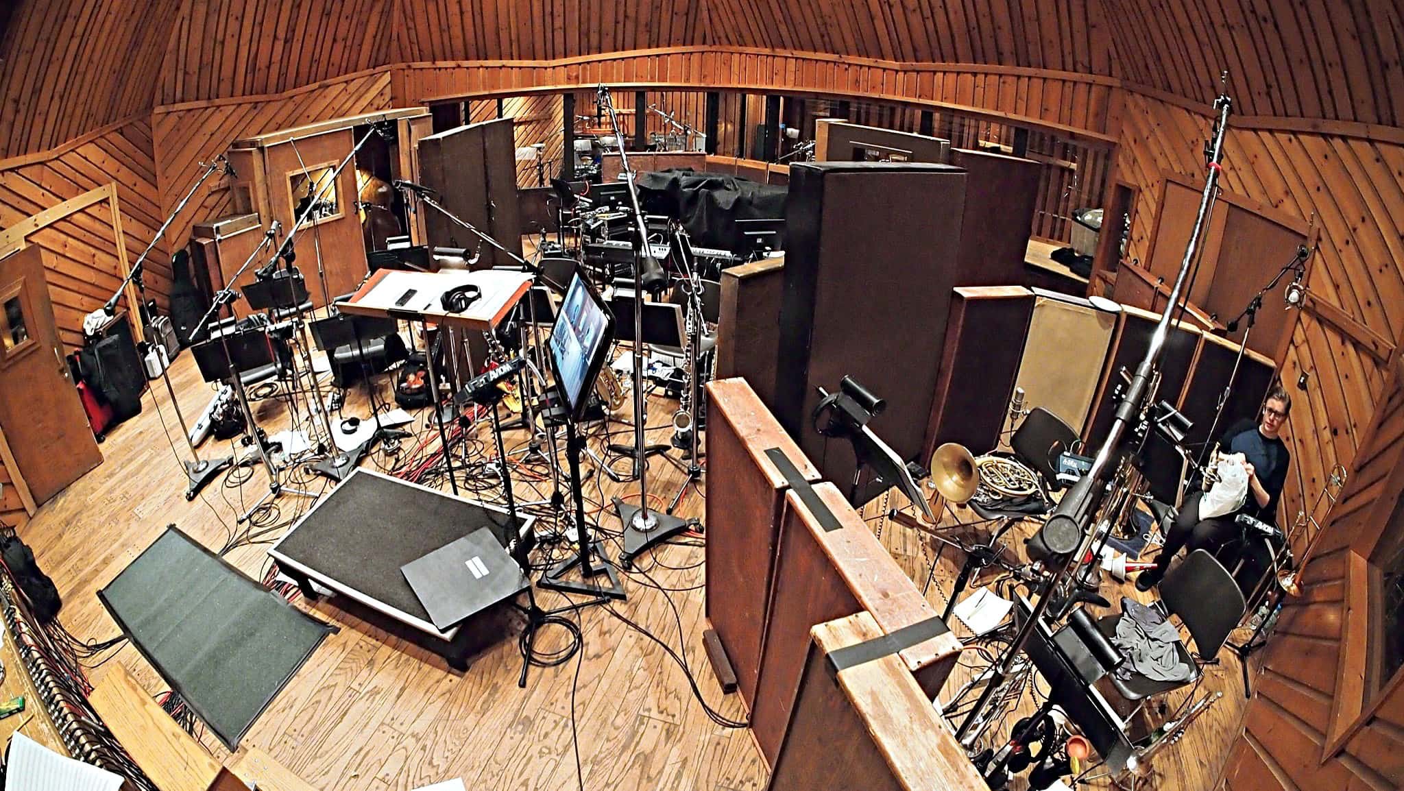 Larry Lelli's drum set setup for the Cast Album Recording at Avatar Studios, New York City, for the Broadway Revival of Side Show.