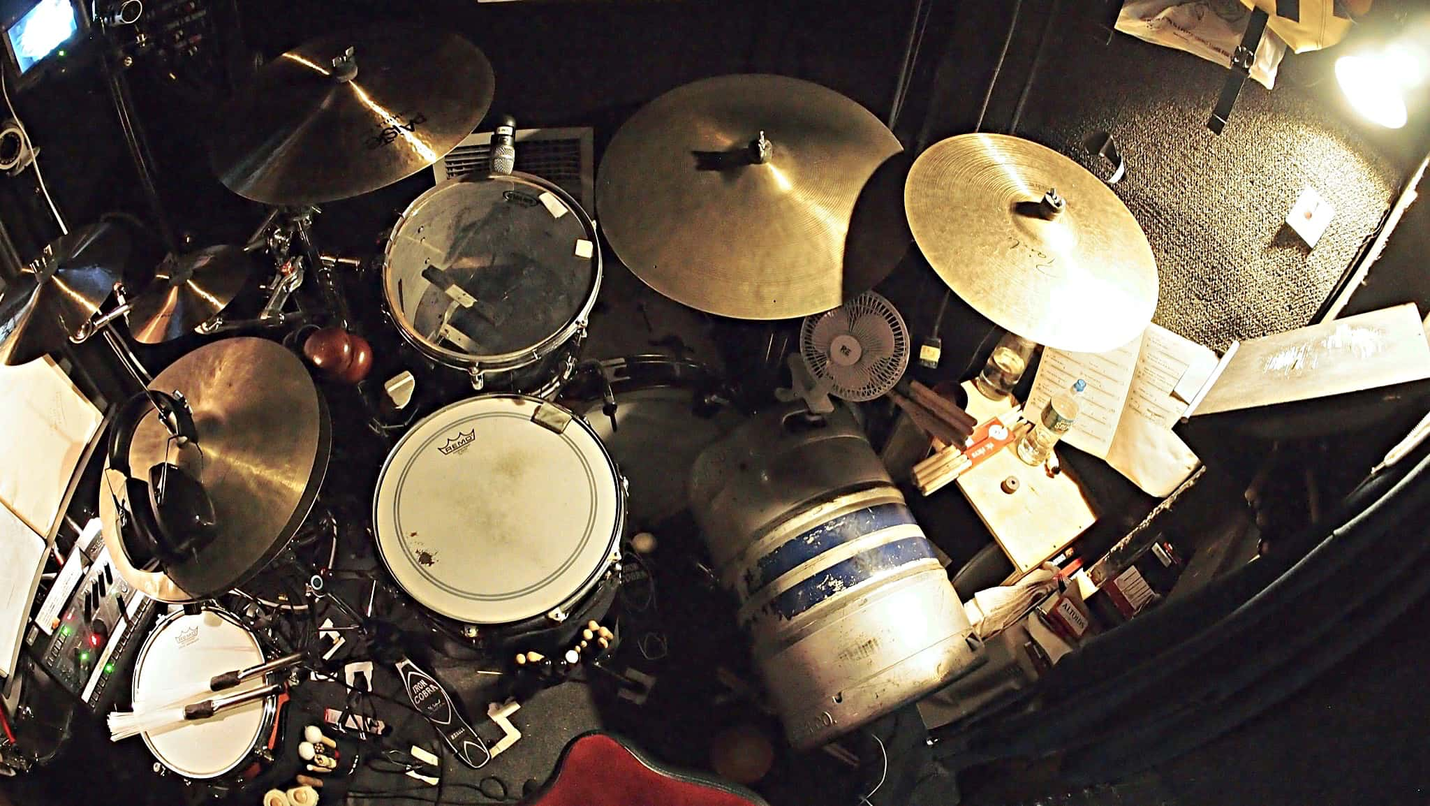 Joe Bonadio's drum set setup for the Broadway production of Sting's The Last Ship at the Neil Simon Theatre.