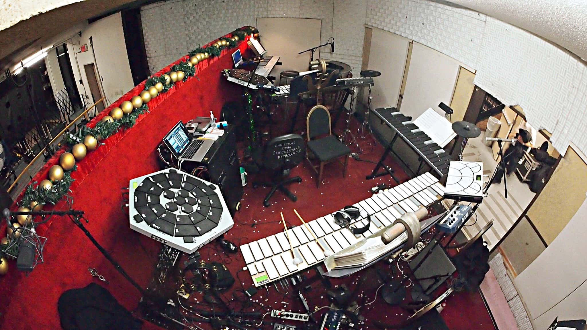 Mario DeCiutiis, Dave Roth, and Matt Beaumont's percussion setup for the Radio City Christmas Spectacular in New York City.