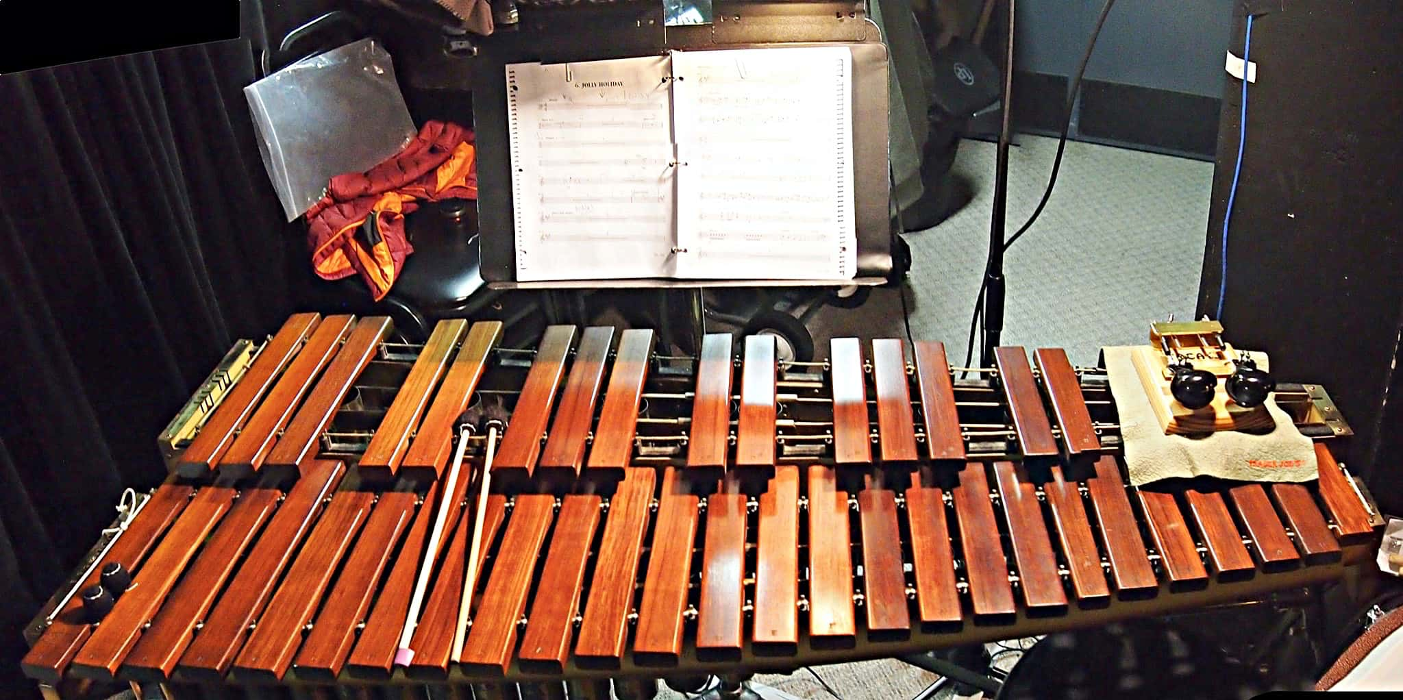Alec Wilmart's percussion setup for Mary Poppins at the Village Theatre in Everett, Washington.