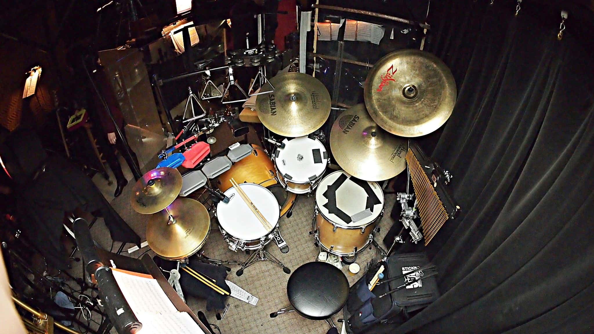 Chris Monroe's drum set setup for Mary Poppins at the Village Theatre in Everett, Washington.