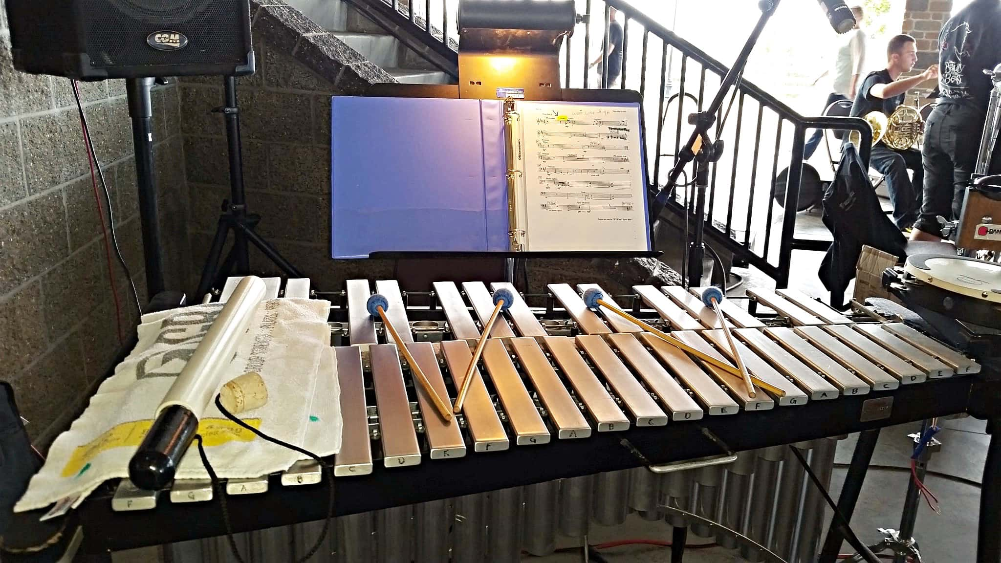 Angel Williams' percussion setup for the Herriman Arts Councils production of Beauty and the Beast in Herriman, Utah.